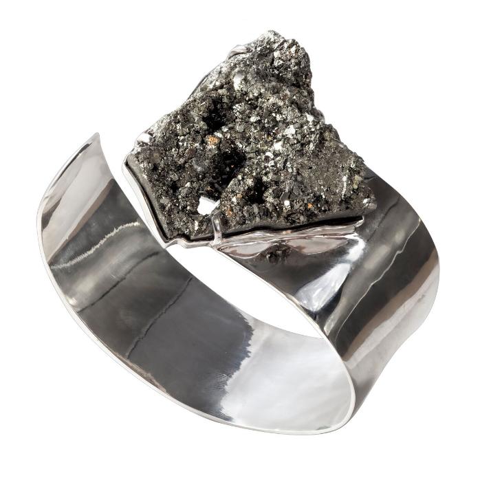 秘鲁黄铁矿,925银镀白金手镯