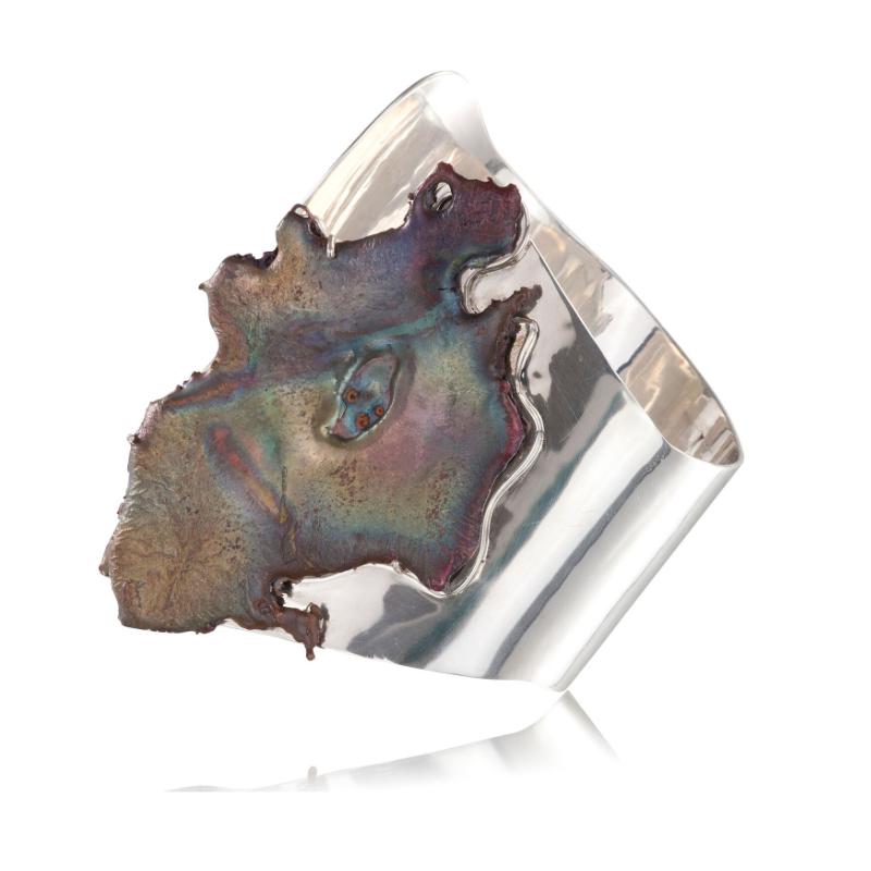 俄罗斯翠铜矿晶体,18K黄金手镯,925银镀白金镶嵌