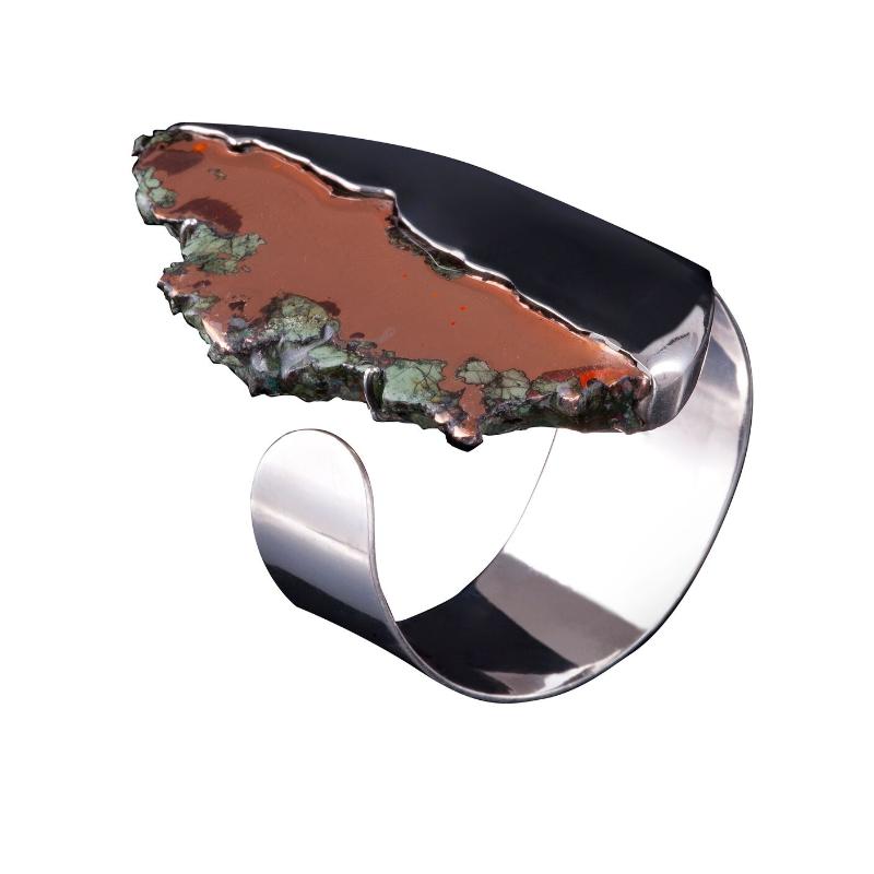 美国密歇根飞溅状自然铜手镯,925银镀18K白金镶嵌