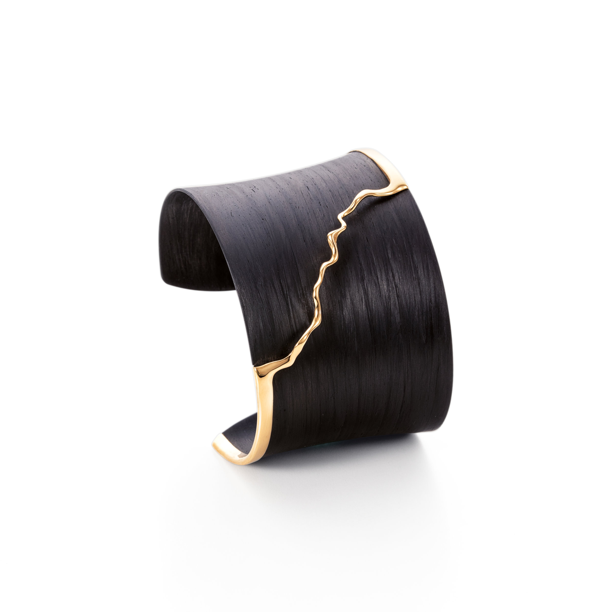碳纤维与925银制手镯,镀18K金