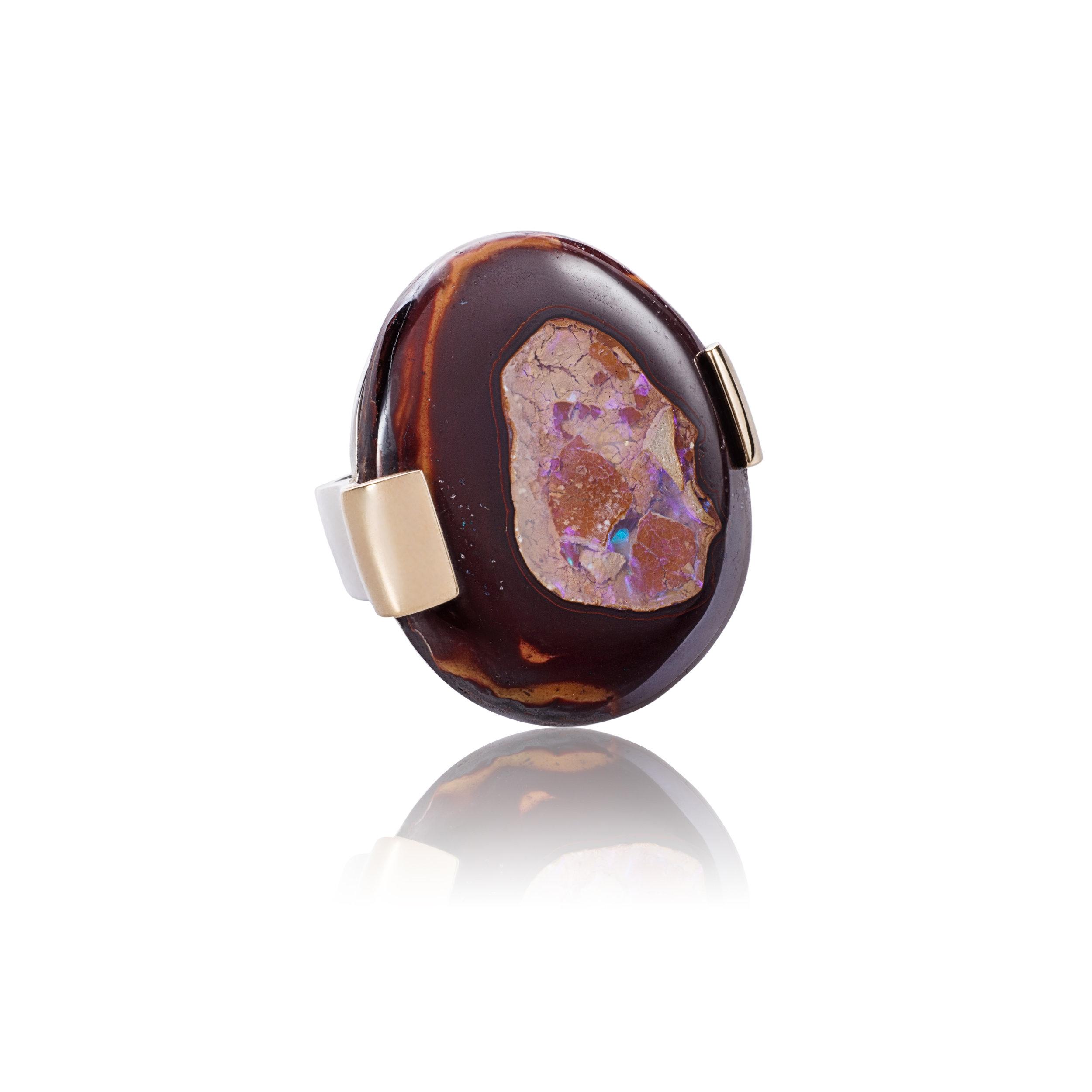 澳洲欧泊(Yowah坚果)59.9克拉,18k黄金戒托,925银镀18k白金戒指