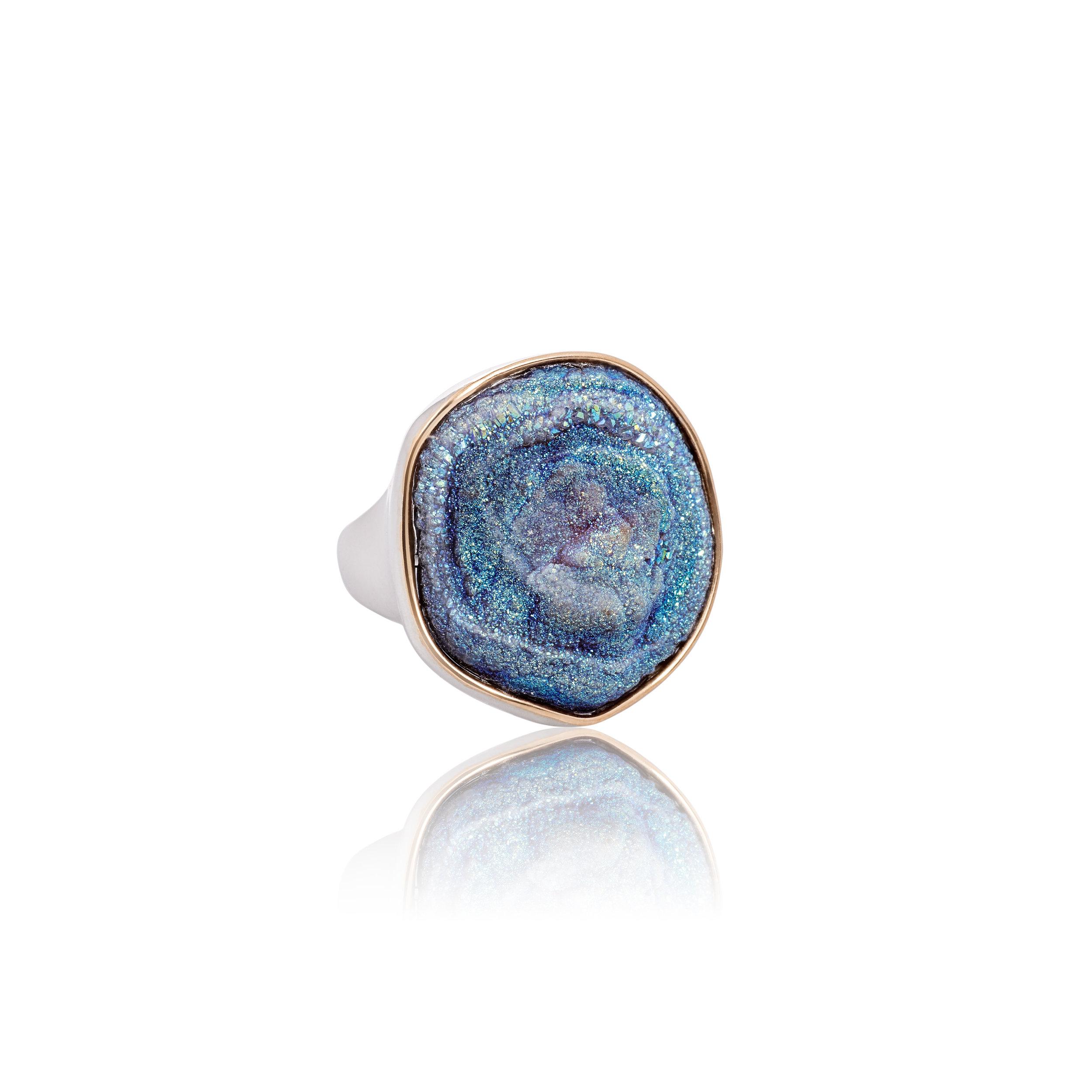 玛瑙晶簇镀钛,18k黄金戒托,925银镀18k黄金戒指