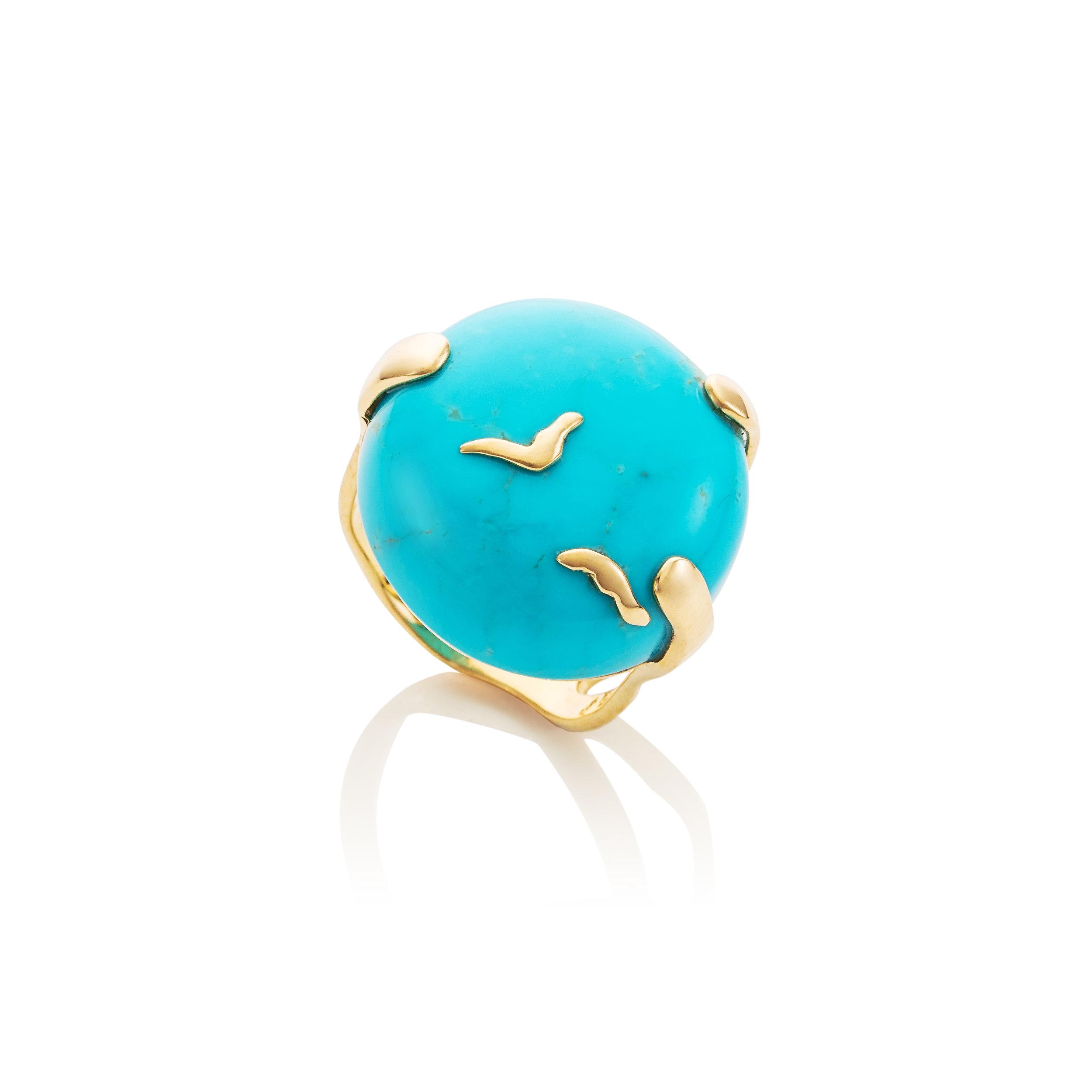 """自由  美国亚利桑那州睡美人绿松石,18K黄金镶嵌戒指,镶嵌""""飞鸟""""纹饰"""