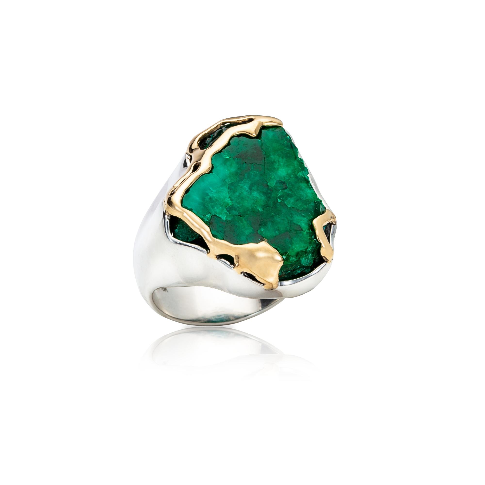仲夏  翠铜矿,18K 黄金镶边,925银戒托戒指