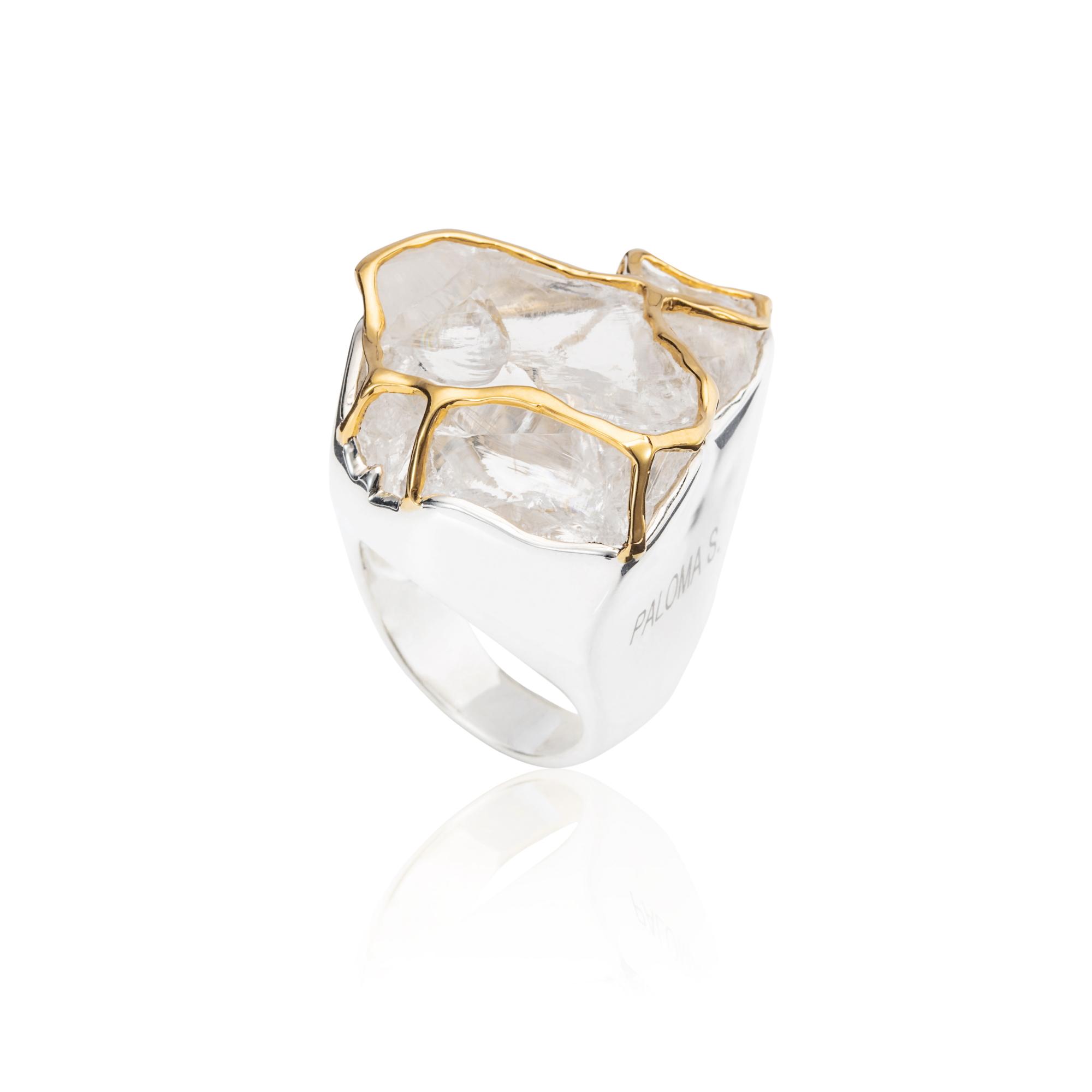巴西白水晶原石,18K黄金镶边,925银镀18K白金戒指