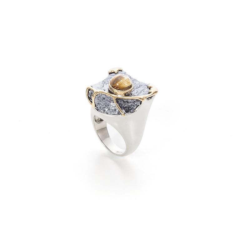 硅与发晶,18K黄金,925银镀18k白金戒指