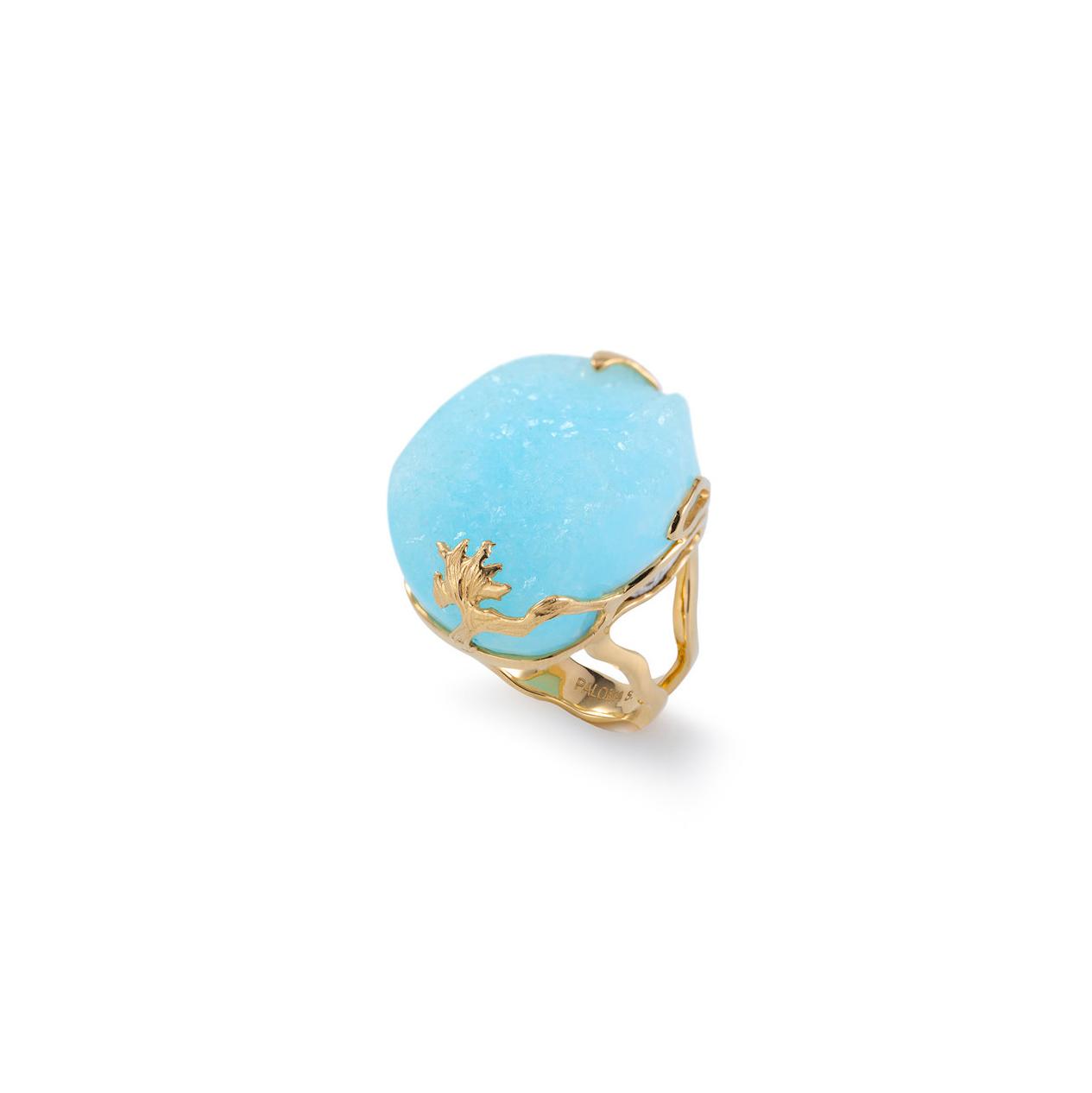 异极矿戒指,18K黄金镶嵌
