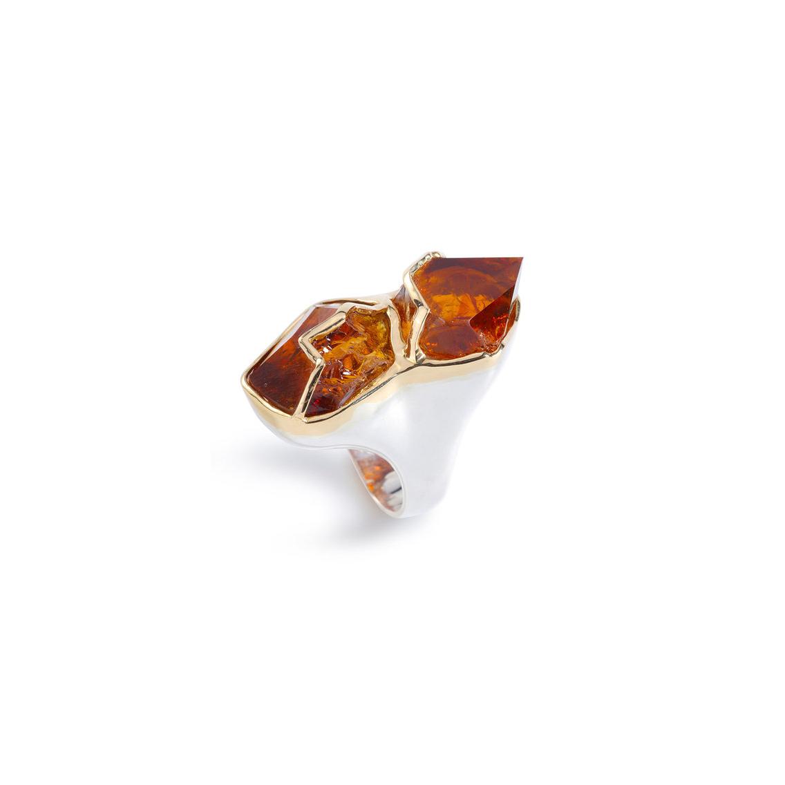巴西双头干邑水晶,18k黄金戒指