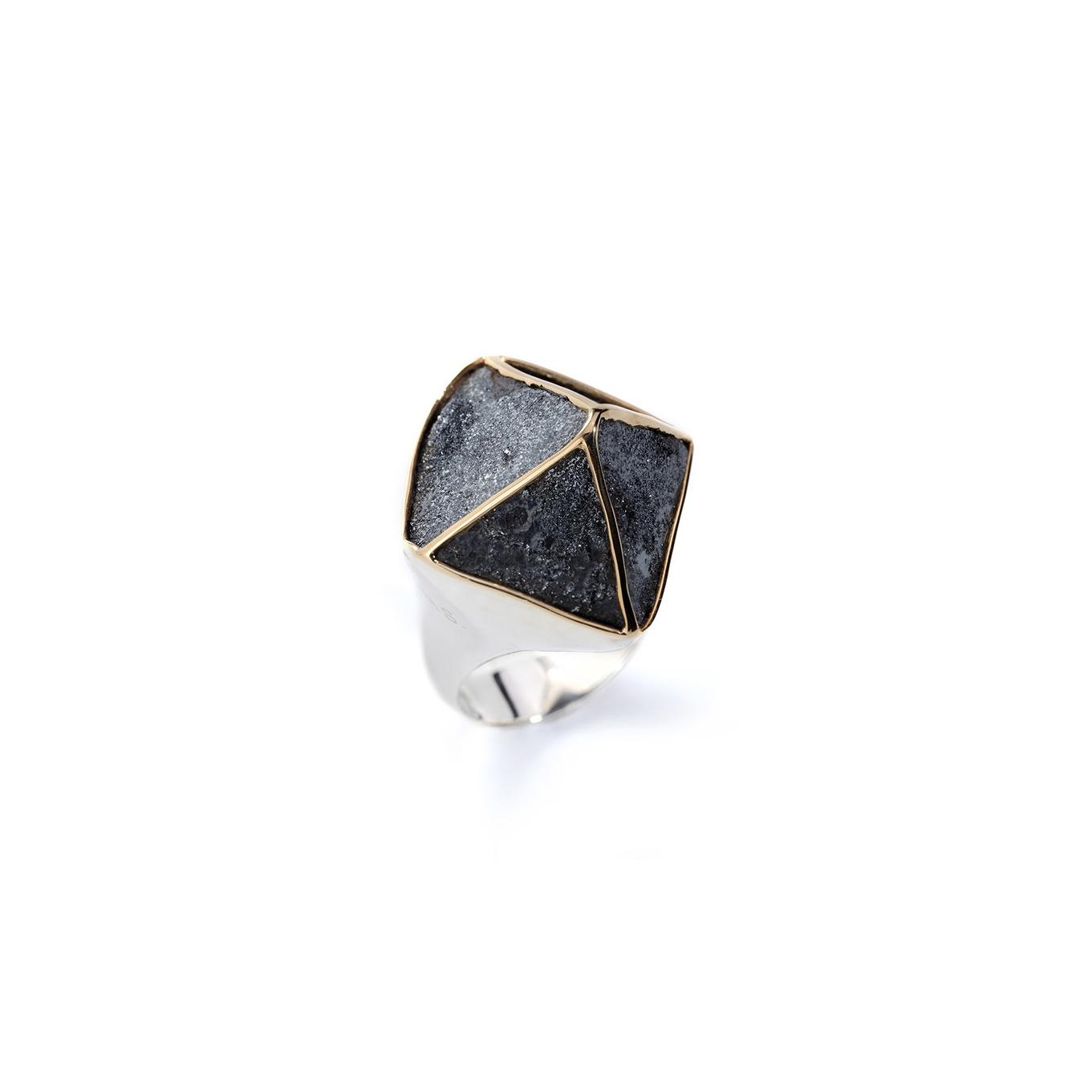 阿根廷磁铁矿/赤铁矿,18k黄金戒托,925银镀18k白金戒指