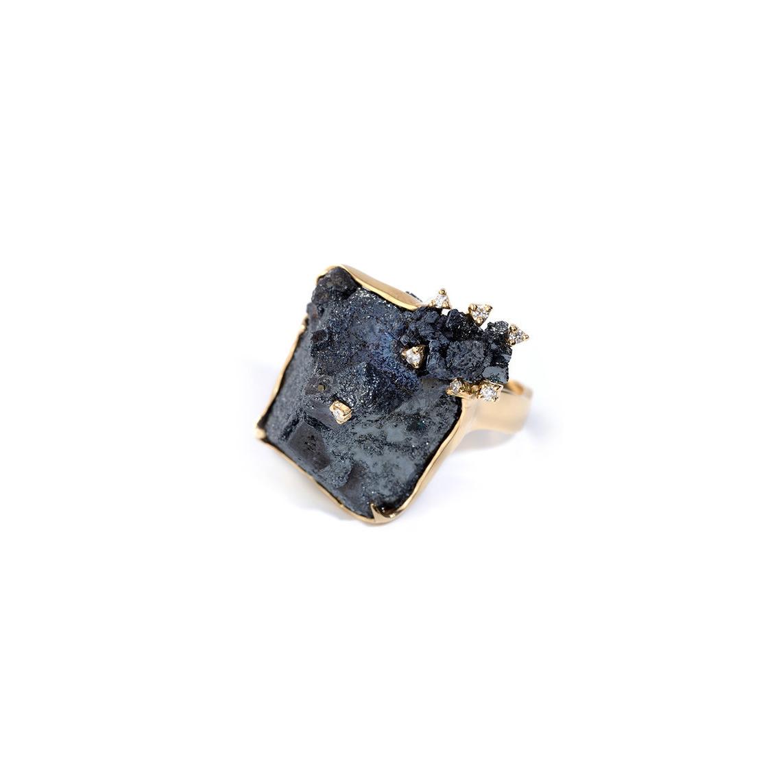 阿根廷磁铁矿/赤铁矿,18k黄金配钻石戒指