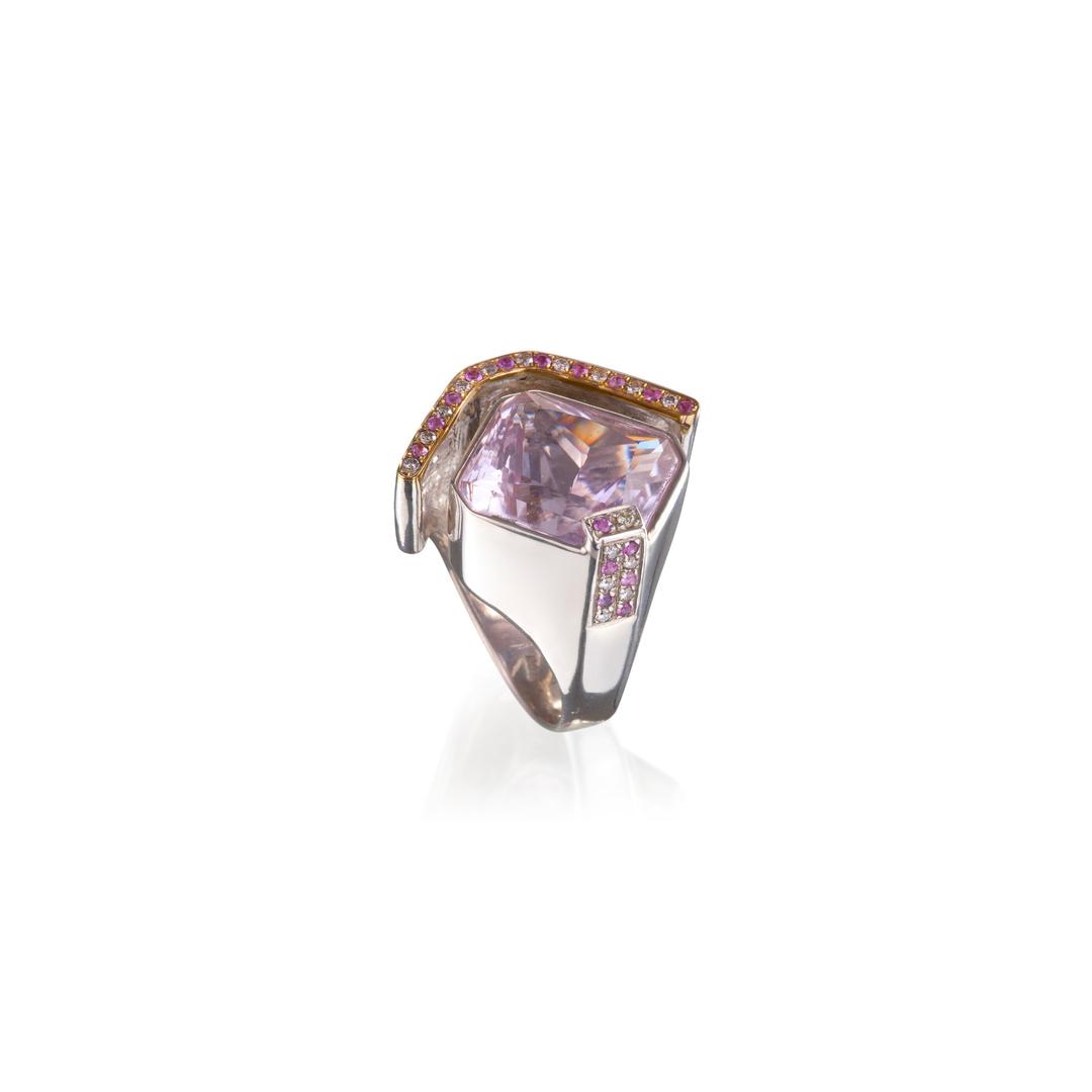 巴西紫锂辉石戒指,配镶粉色蓝宝石和钻石,18K 黄金戒圈,925银镀18K白金戒托