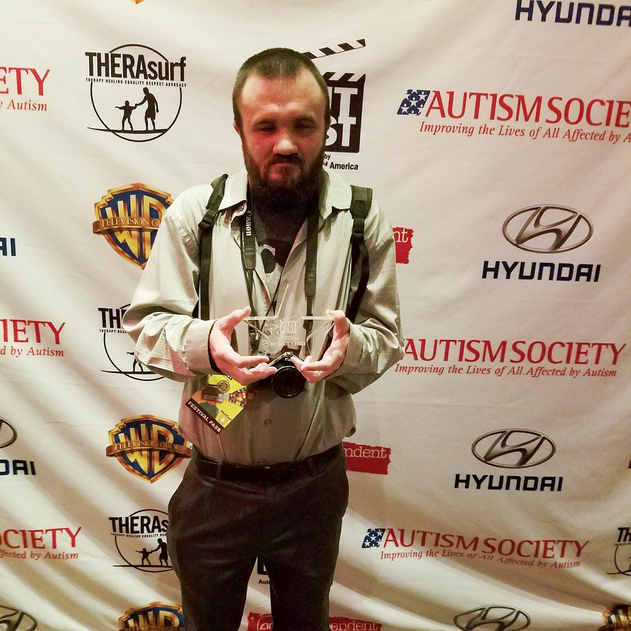 Dustin accepting award!
