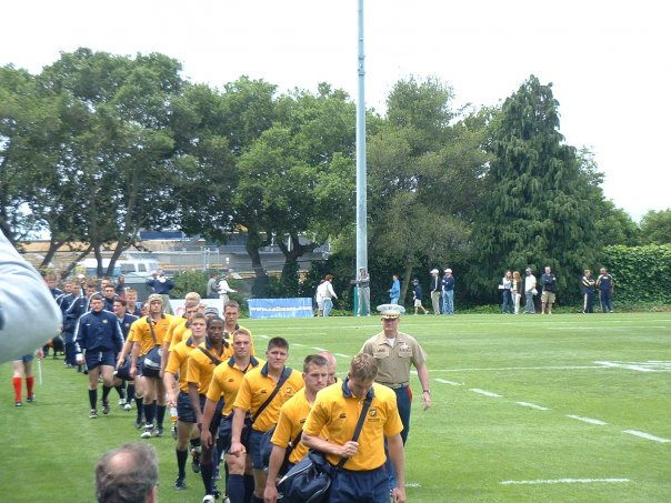 Kevin Shea leading out the USNA Rugby team.