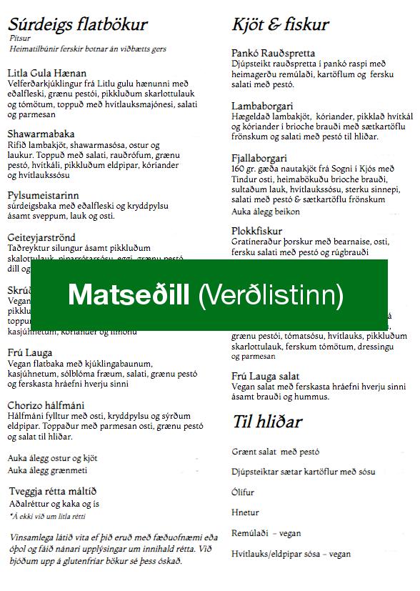 Vinsamlega smellið á myndina til að sjá matseðil