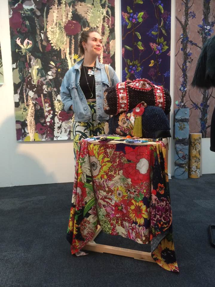 Lela Mae with her work at  New Designers  in Islington in June 2017.