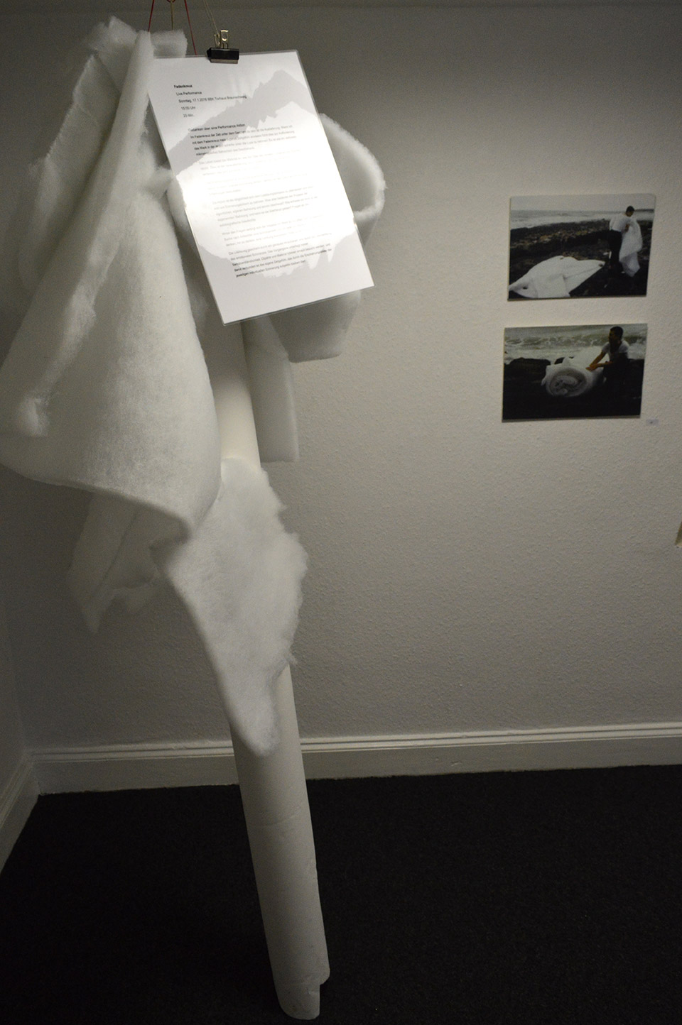 Relics of Live Performance, January 2016,Background the Making of white suit in Hastings 1999,  BBK Braunschweig Torhaus, photographed by the author