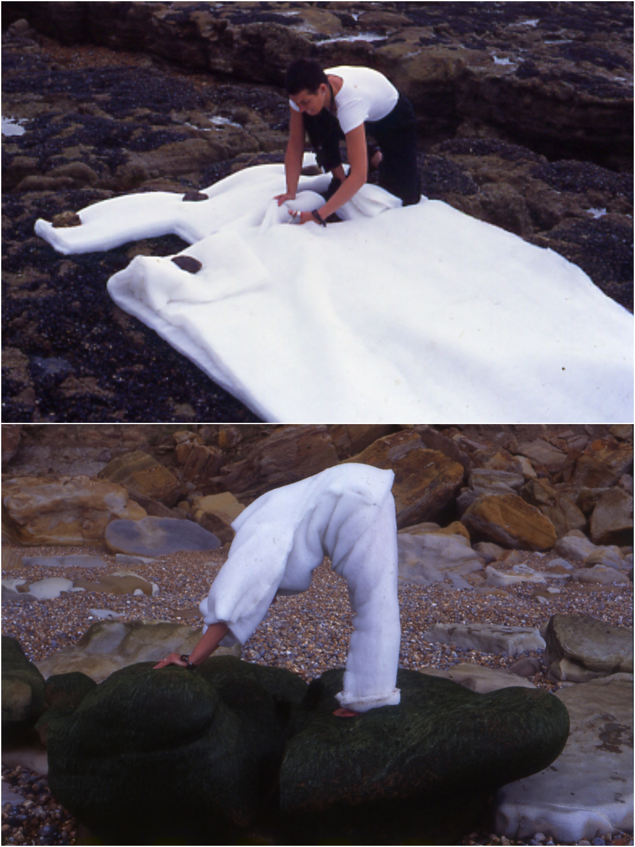the Making of white suit, Hastings 1999, exhibited at  BBK Braunschweig Torhaus, photographic prints 84 x 59