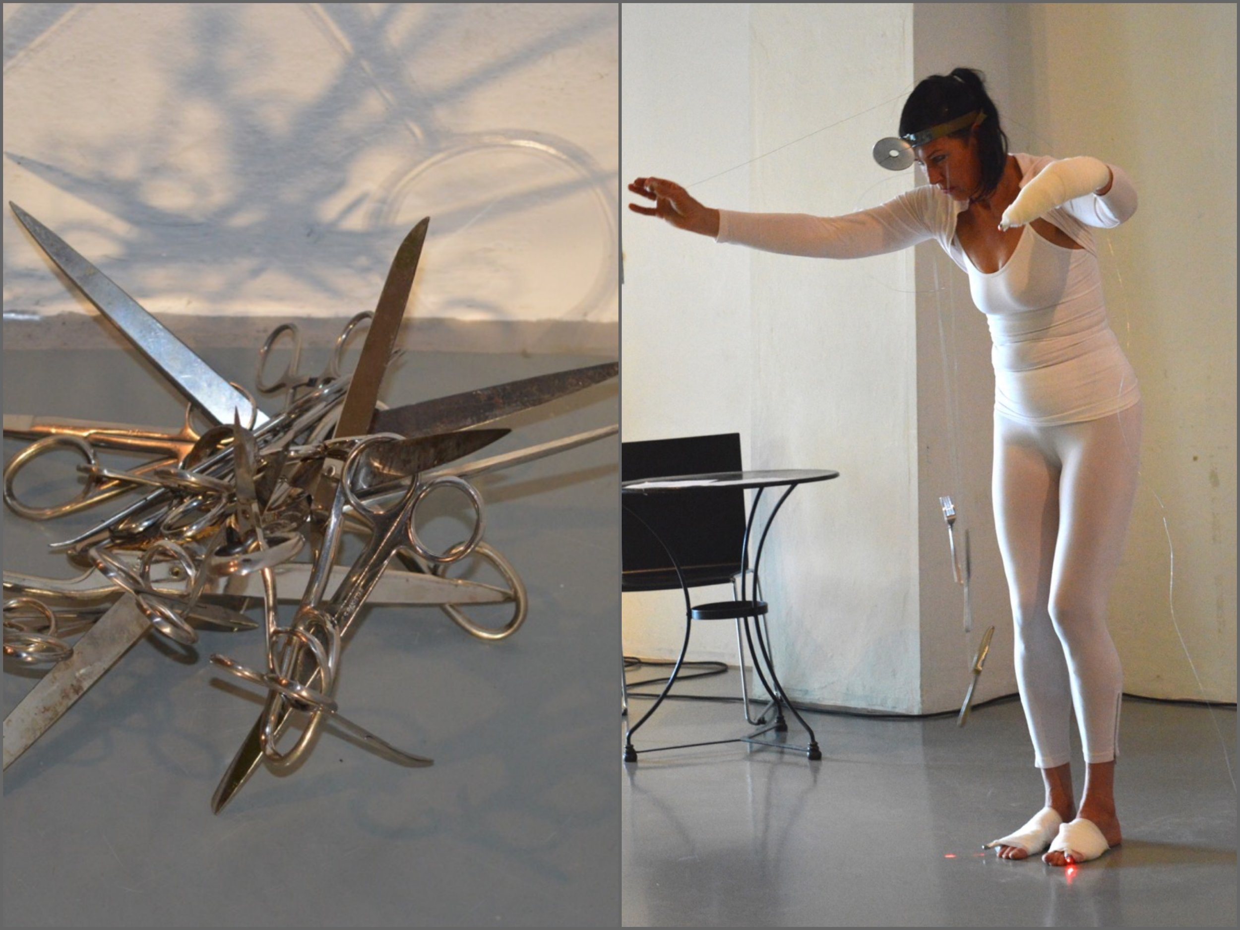 (excerpt)  Messer, Schere, Gabel, Licht   ,  Eru and Seven of Eglise (Alexander Rues and Dagmar I. Glausnitzer-Smith),  Live Performance and Sound Experimentation,         Open Art 2016 Freiburg,  photographed by    Monika Hagen