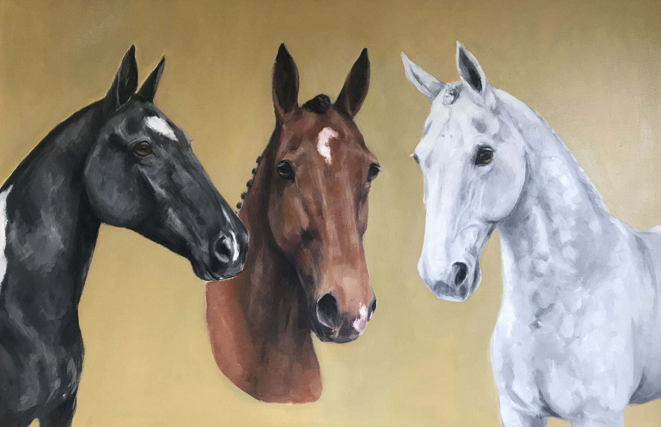 Horse Trio Oil on Canvas