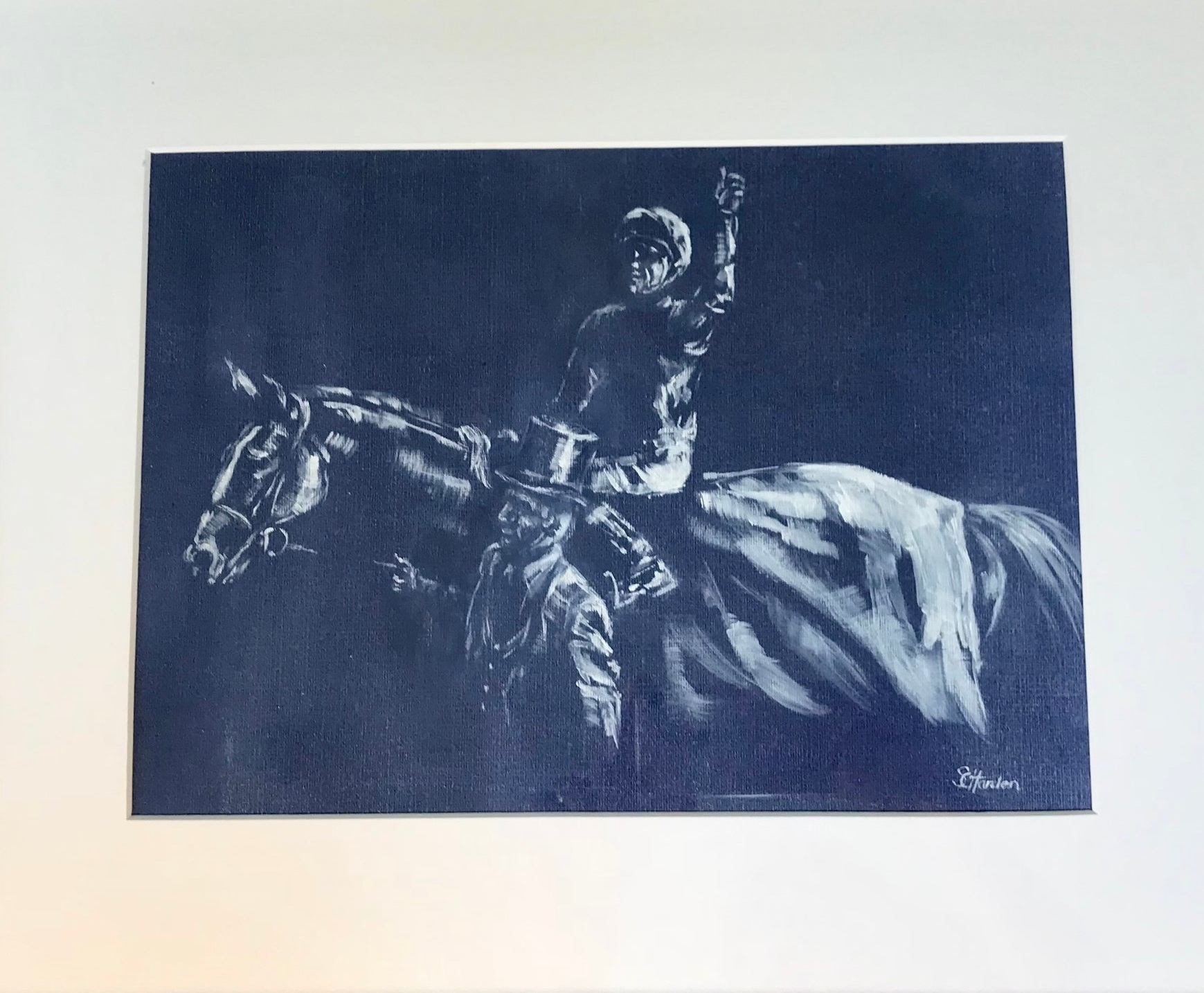 Stradivarious and Frankie Dettori Oil on Paper