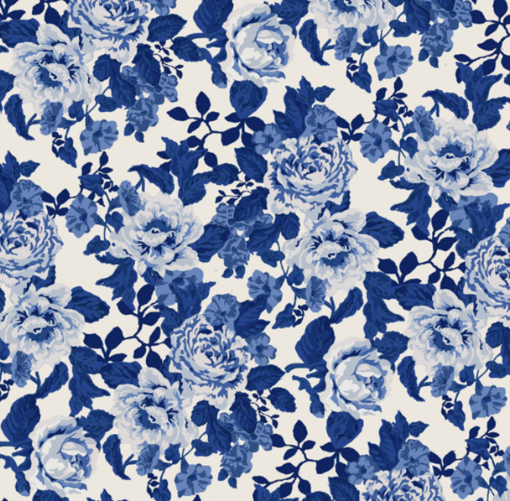English Floral in Blue
