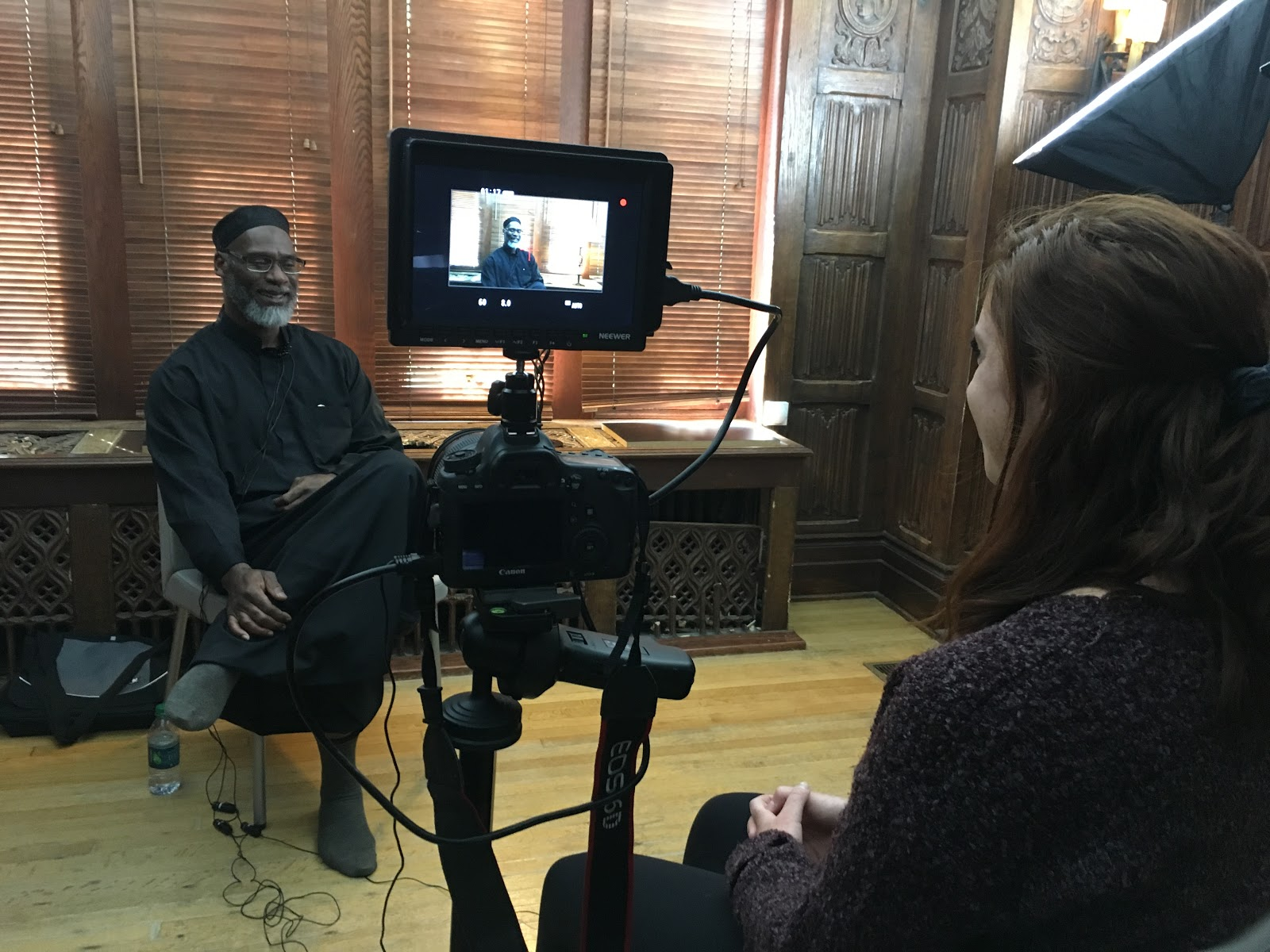 Abdul Lateef being interviewed by Maureen Devlin
