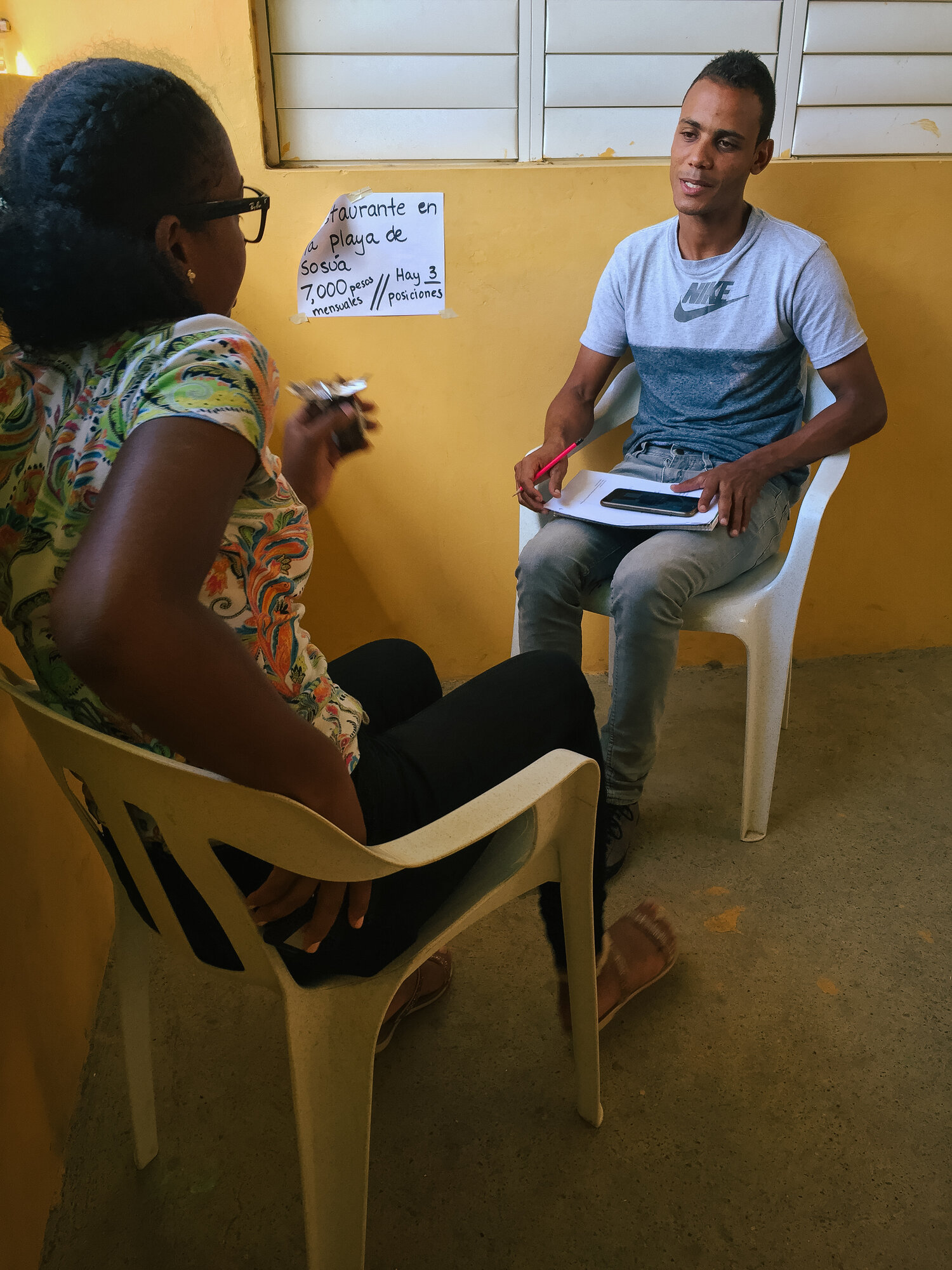 The students had to interview for potential jobs, with our local staff serving as prospective employers! Here a girl is interviewing for a job at a restaurant in Sosua, which would earn her 7,000 pesos a month (about $140).