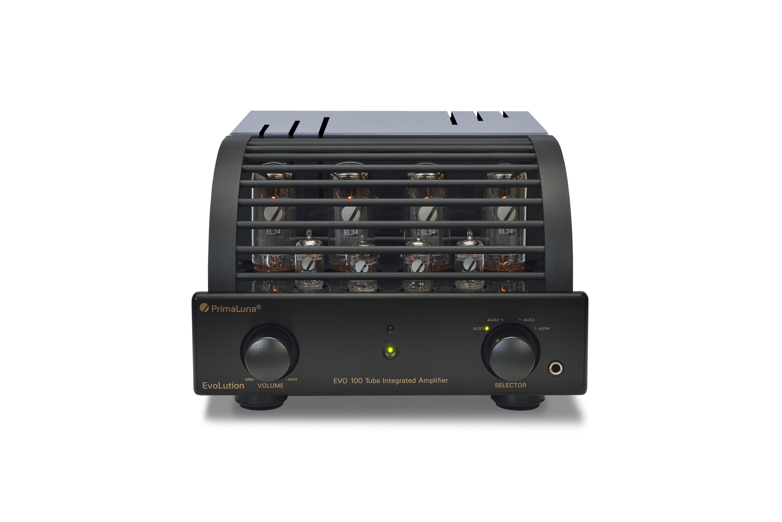 160b - PrimaLuna EVO 100 Tube Integrated Amplifier - black - front - white background.jpg