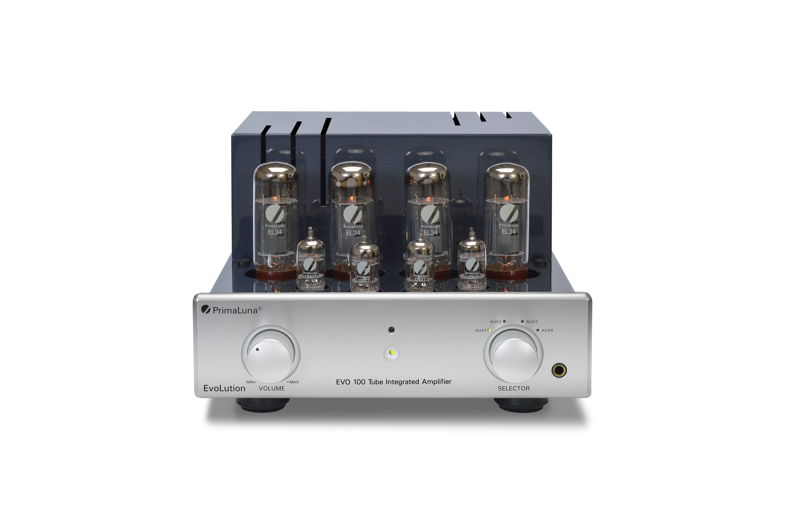 171b - PrimaLuna EVO 100 Tube Integrated Amplifier - silver - front - without cage - white background.jpg