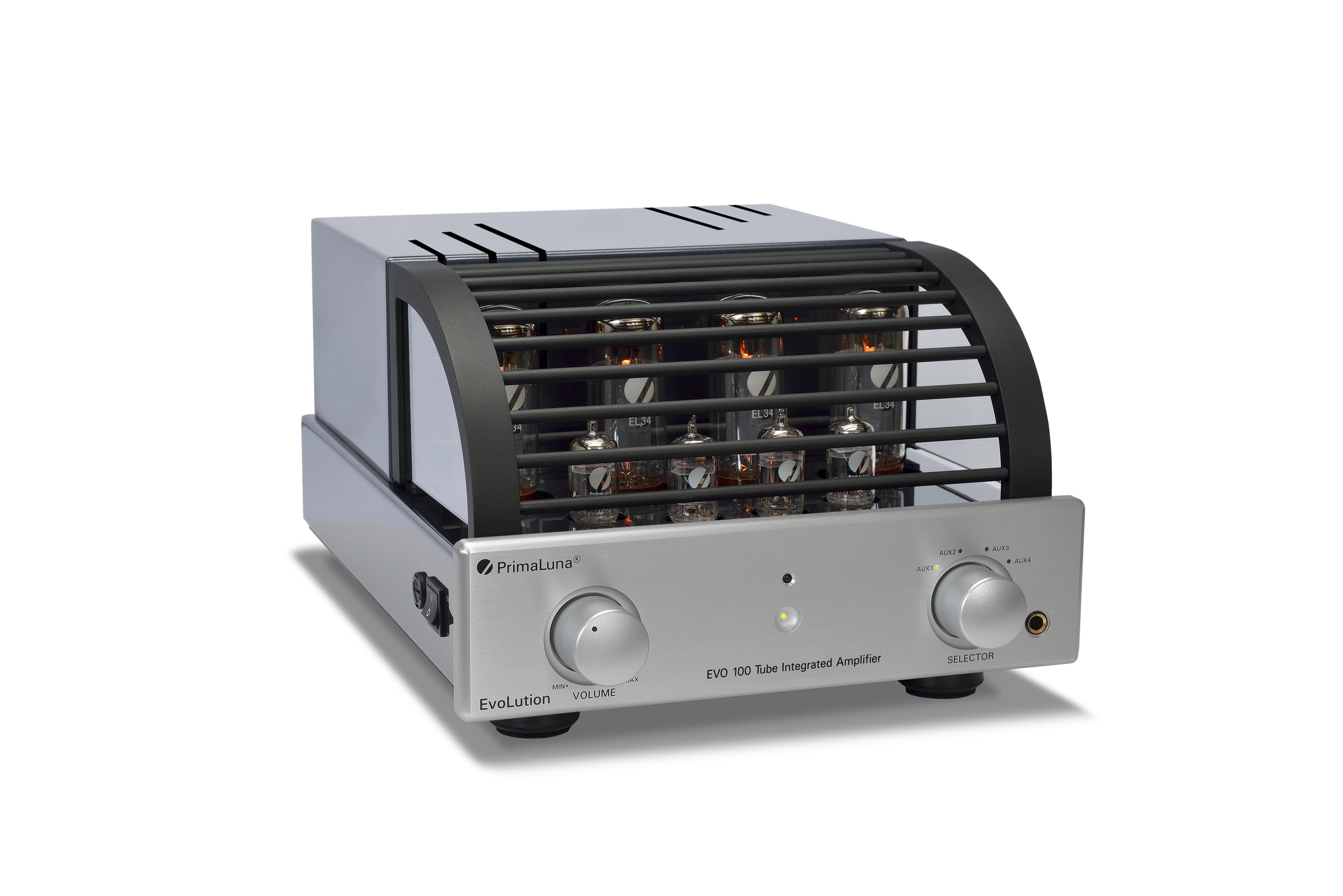 172b - PrimaLuna EVO 100 Tube Integrated Amplifier - silver - slanted - white background.jpg