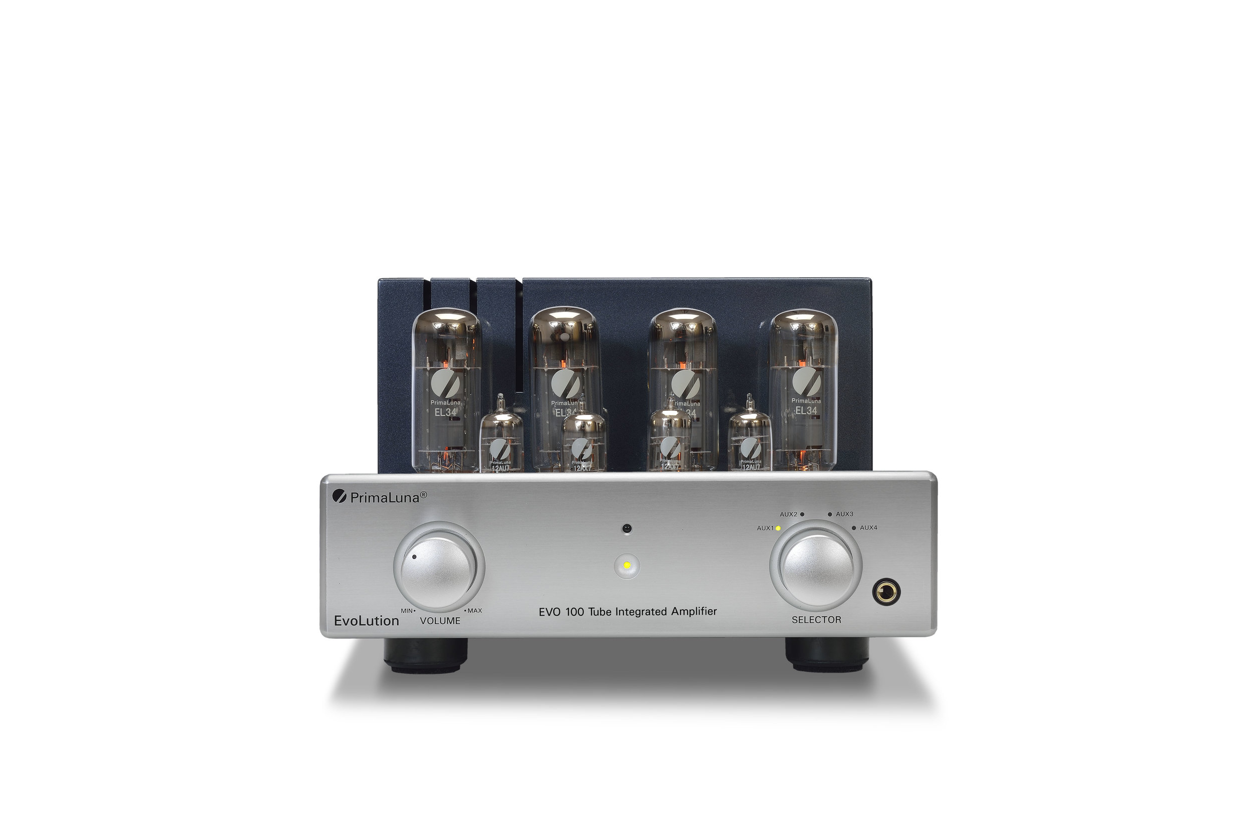 178b - PrimaLuna EVO 100 Tube Integrated Amplifier - silver - front low - white background.jpg