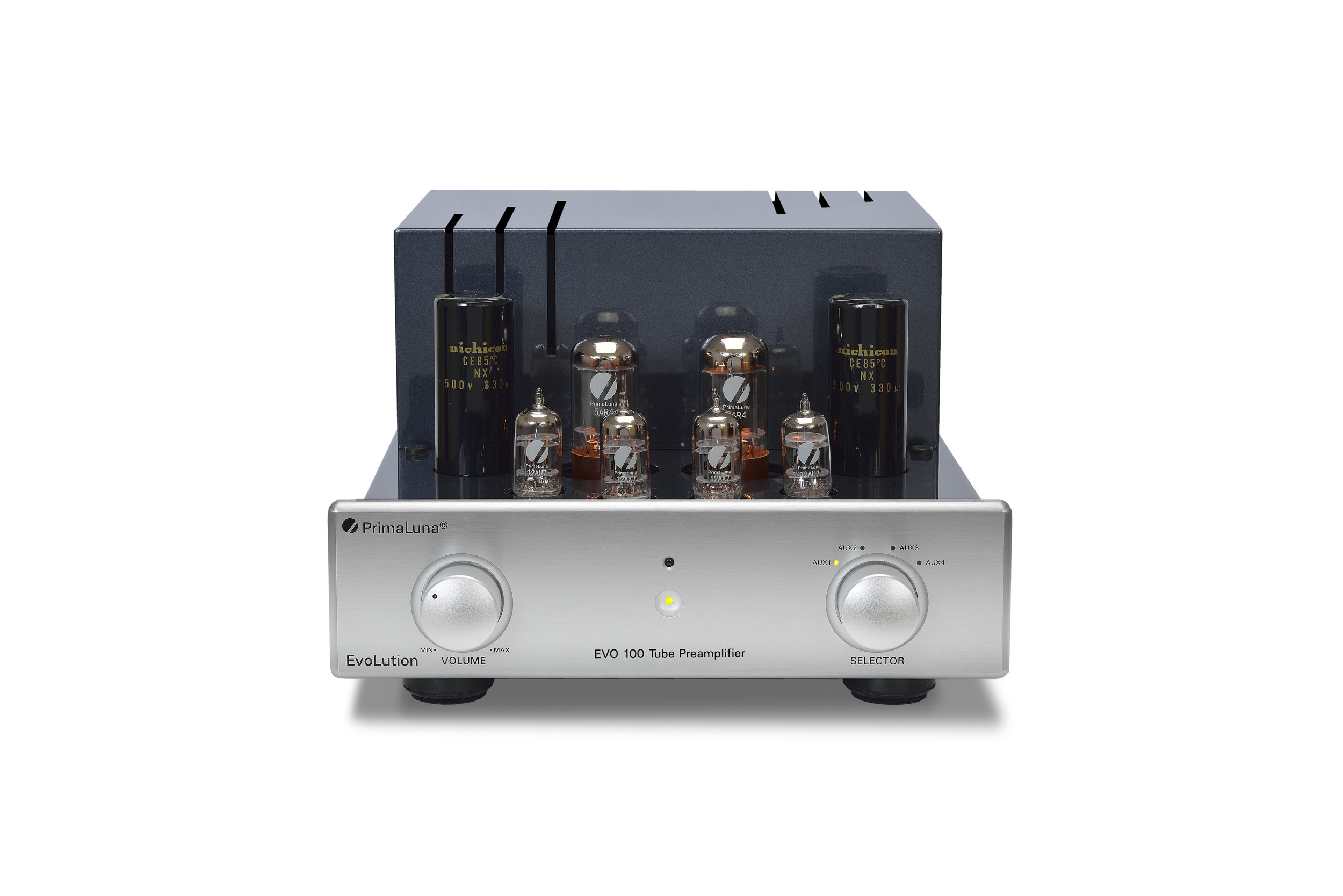 151b - PrimaLuna EVO 100 Tube Preamplifier - silver - front - without cage - white background.jpg