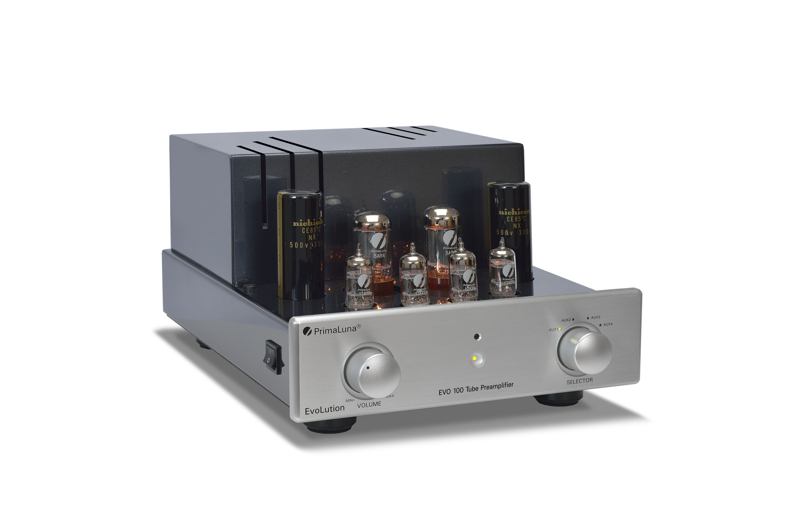 153b - PrimaLuna EVO 100 Tube Preamplifier - silver - slanted - without cage - white background.jpg