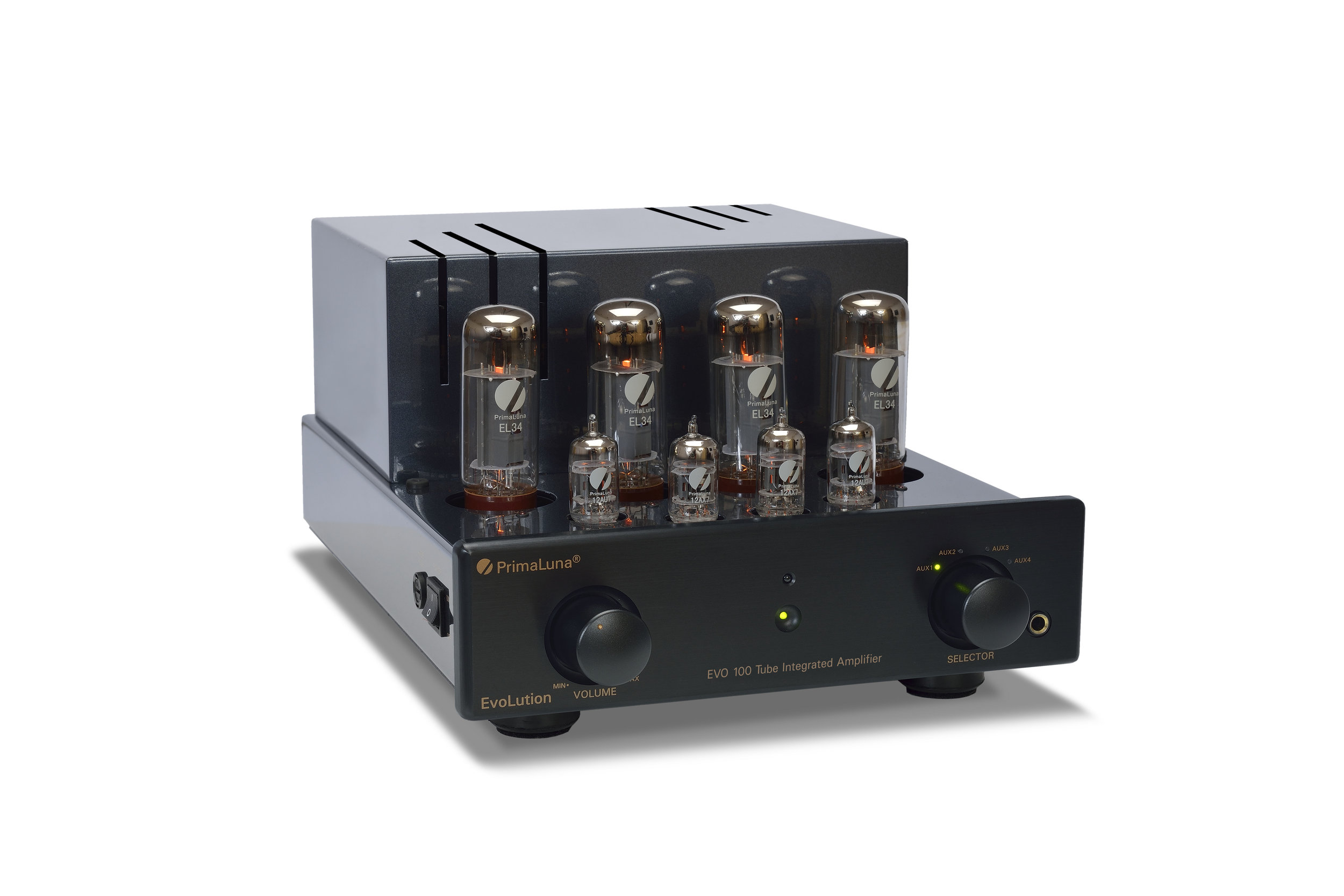 163b - PrimaLuna EVO 100 Tube Integrated Amplifier - black - slanted - without cage - white background.jpg