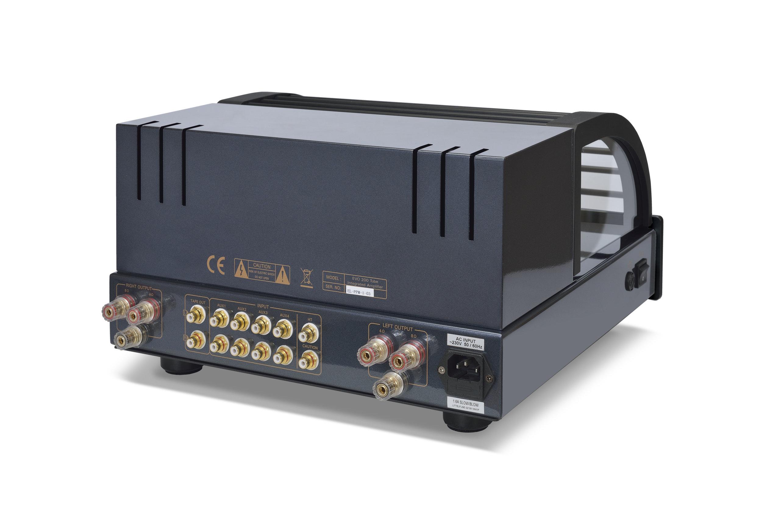 117b - PrimaLuna Evo 200 Tube Integrated Amplifier - black - back - slanted - white background.jpg