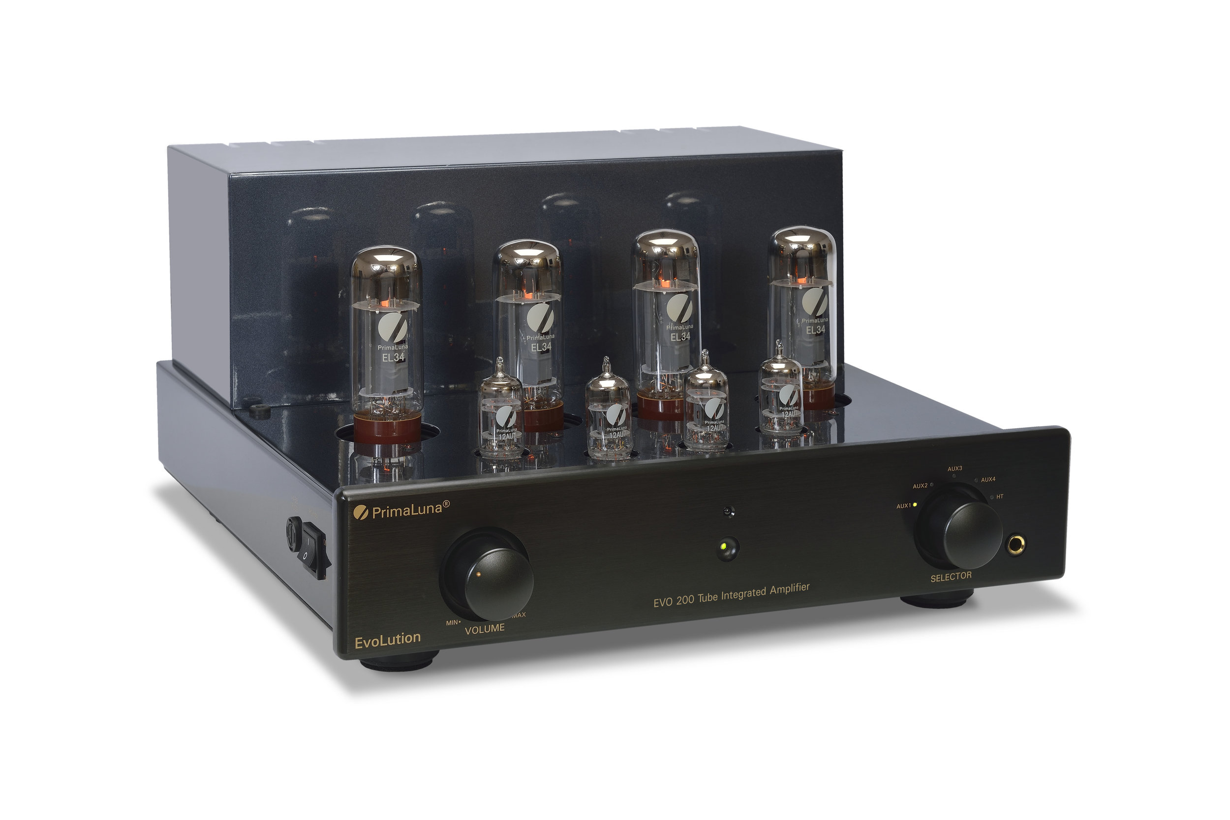 114b - PrimaLuna Evo 200 Tube Integrated Amplifier - black - slanted - without cage - white background.jpg