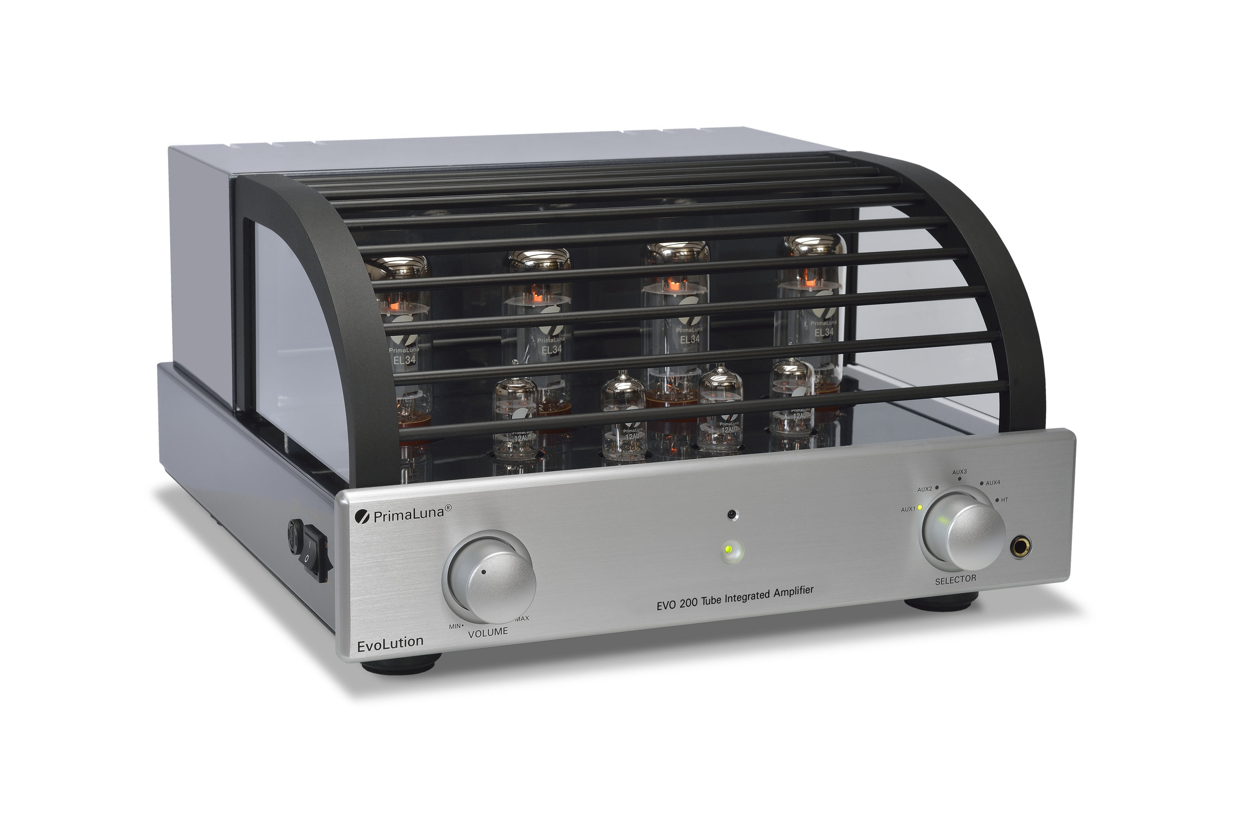 103b - PrimaLuna Evo 200 Tube Integrated Amplifier - silver - slanted - white background.jpg