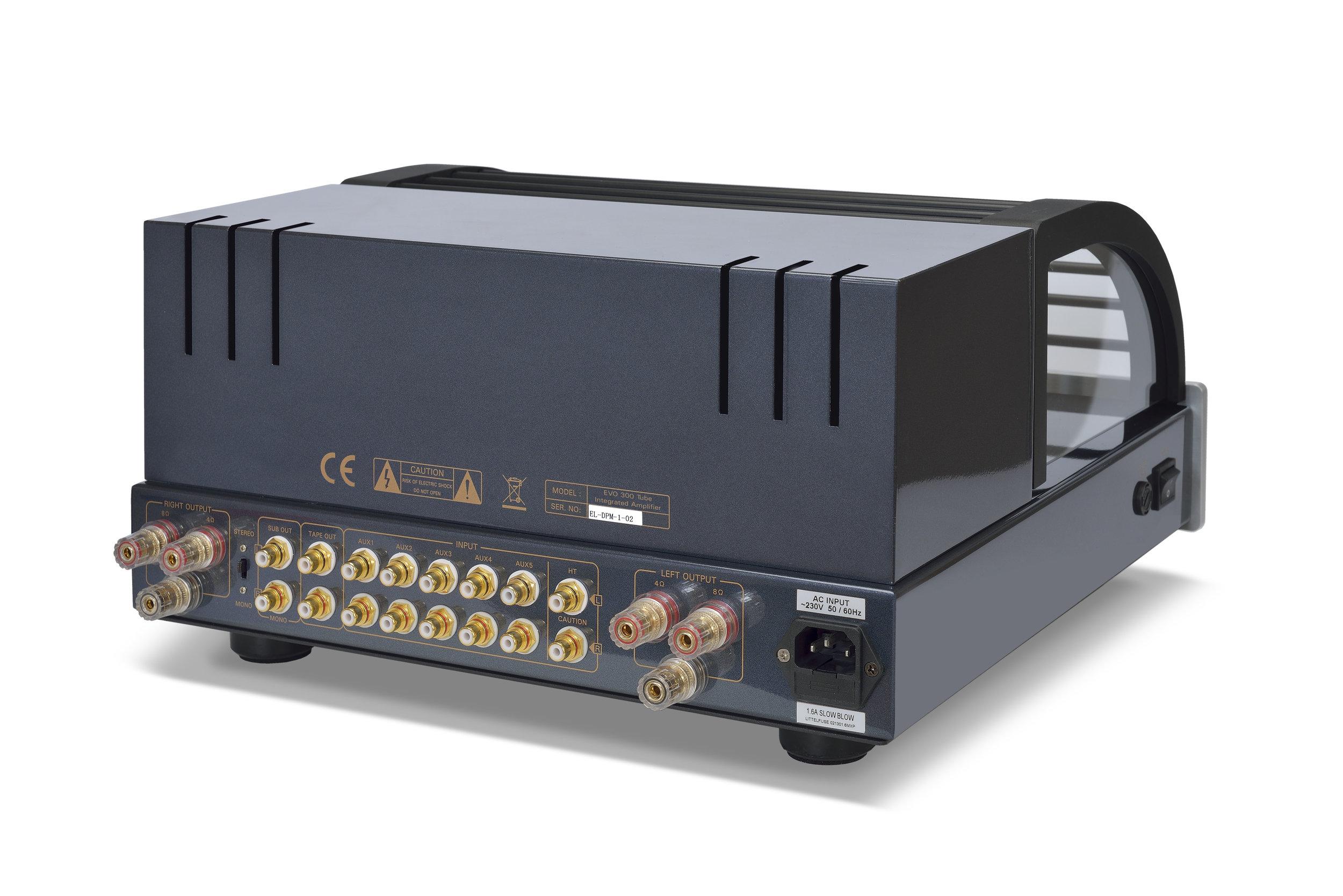048b - PrimaLuna Evo 300 Tube Integrated Amplifier - silver - back - slanted - white background - kopie.jpg