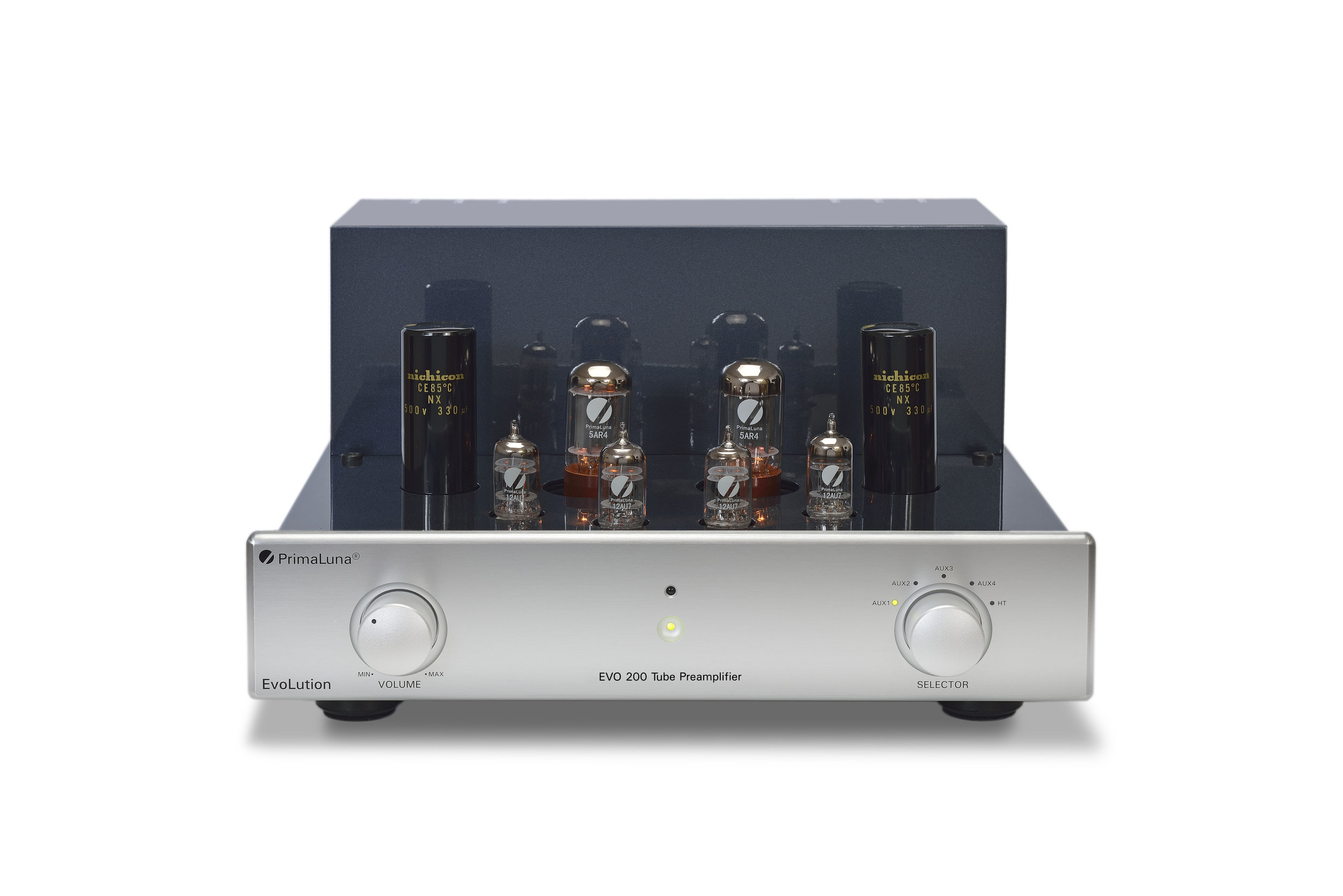 082b - PrimaLuna Evo 200 Tube Preamplifier - silver - front - without cage - white background.jpg