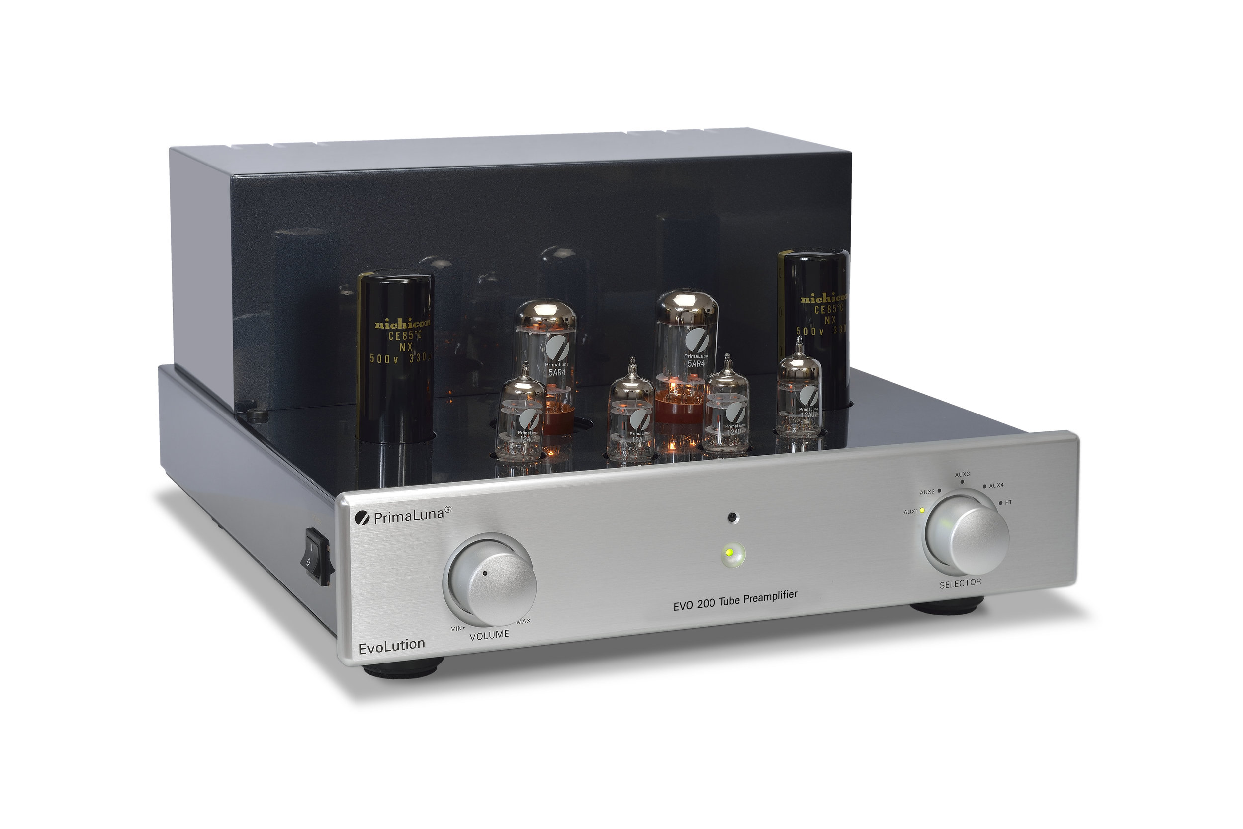 084b - PrimaLuna Evo 200 Tube Preamplifier - silver - slanted - without cage - white background.jpg