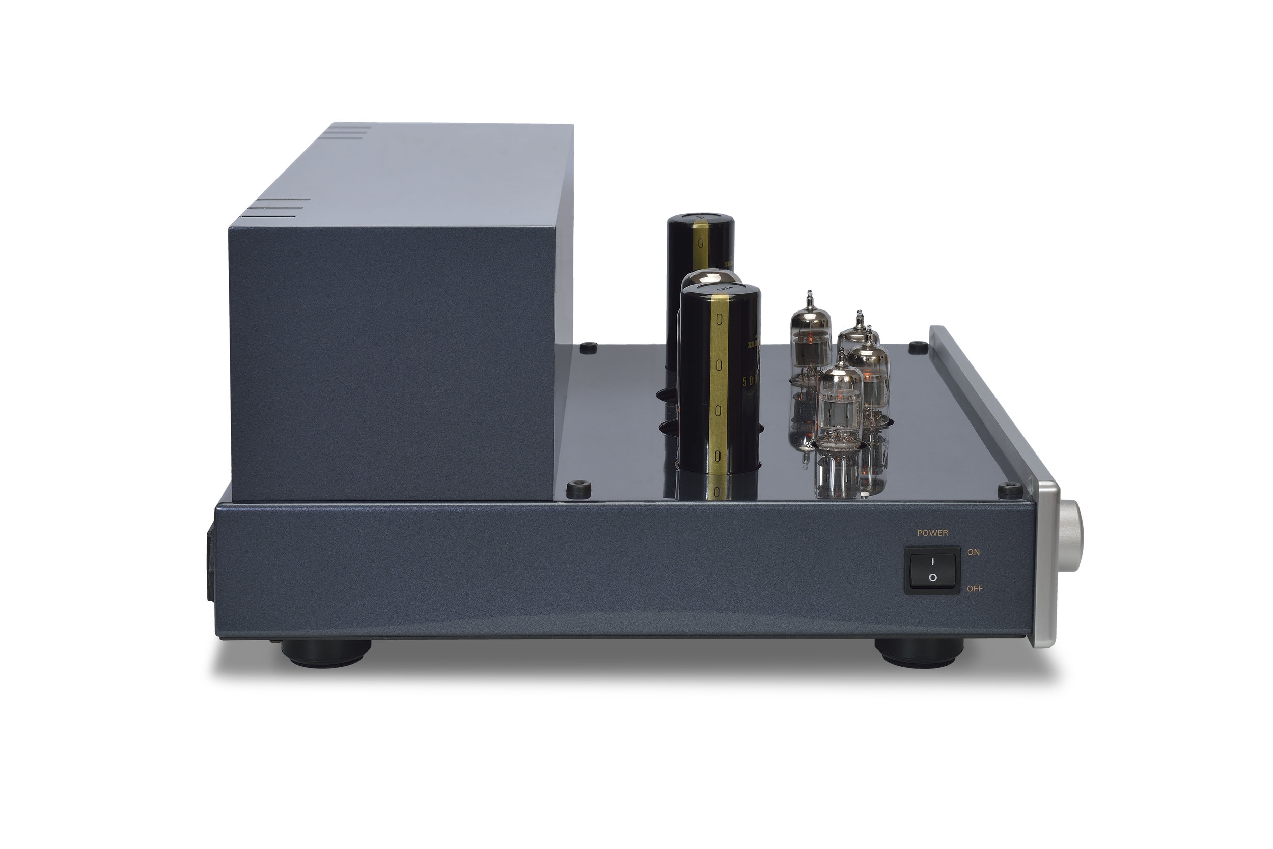 086b - PrimaLuna Evo 200 Tube Preamplifier - silver - quarter turned - without cage - white background.jpg