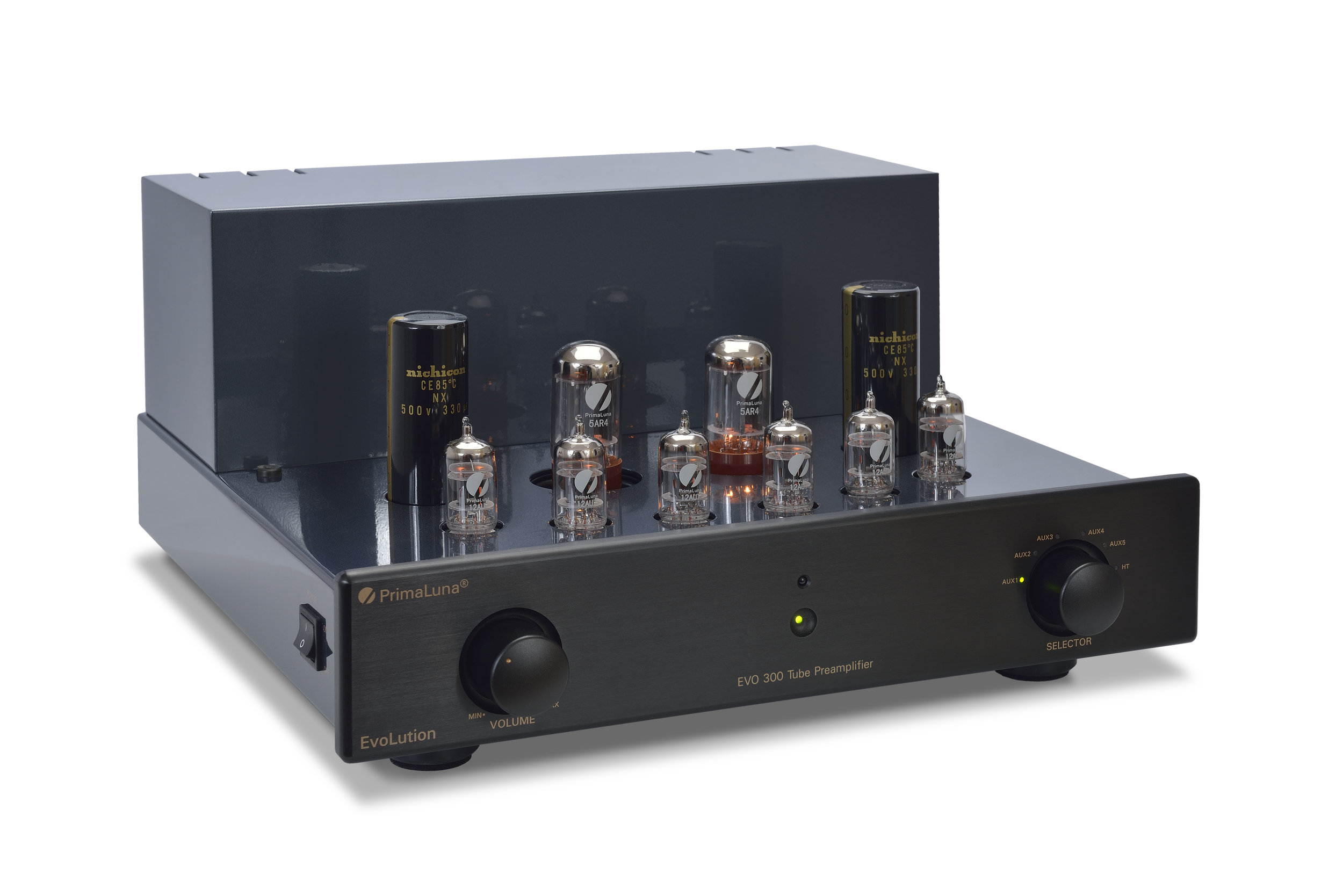 004b - PrimaLuna Evo 300 Tube Preamplifier - black - slanted - without cage - white background.jpg