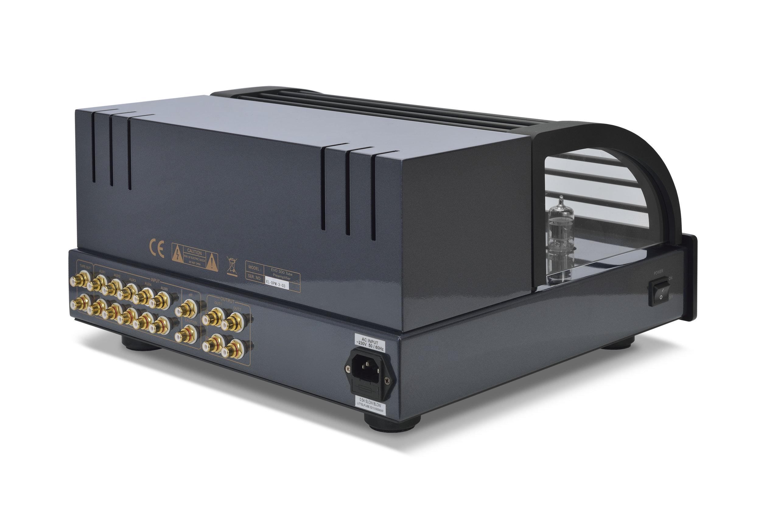 007b - PrimaLuna Evo 300 Tube Preamplifier - black - back - slanted - white background.jpg