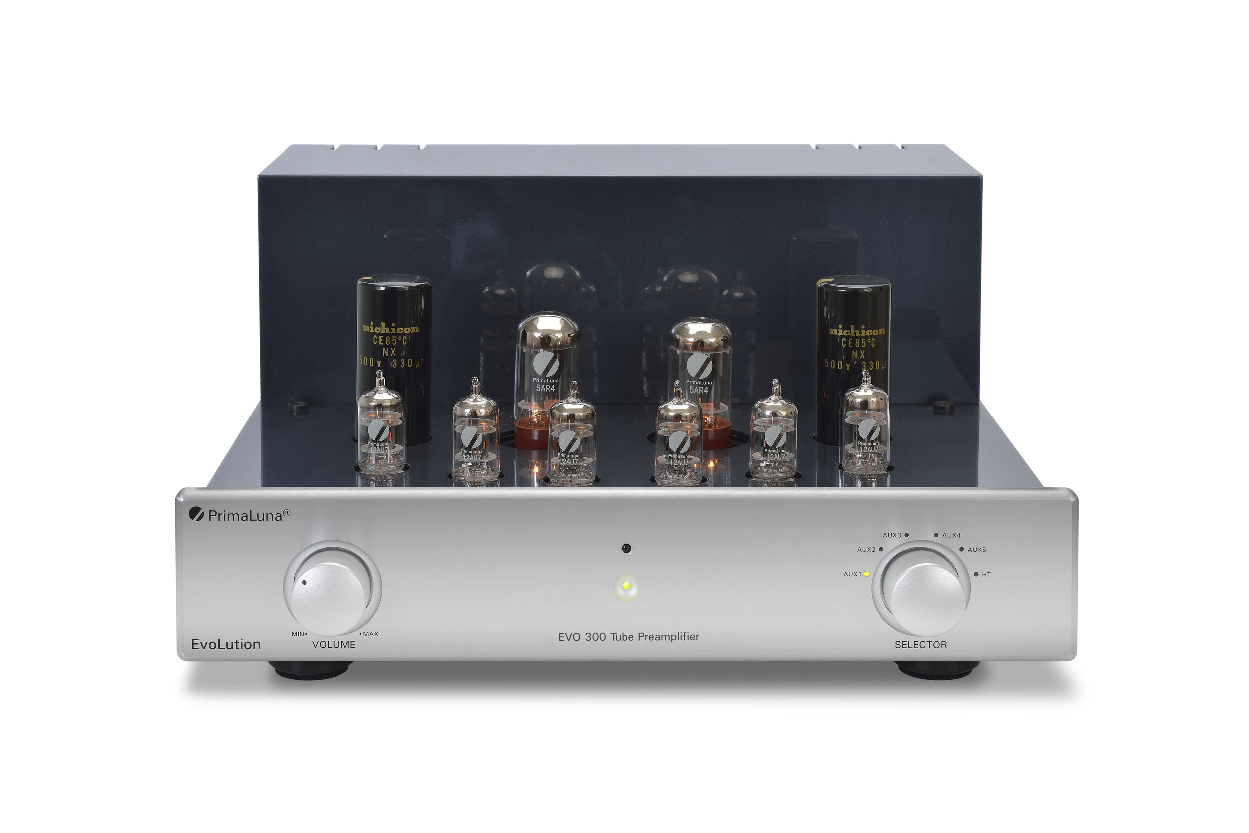 013b - PrimaLuna Evo 300 Tube Preamplifier - silver - front - without cage - white background.jpg