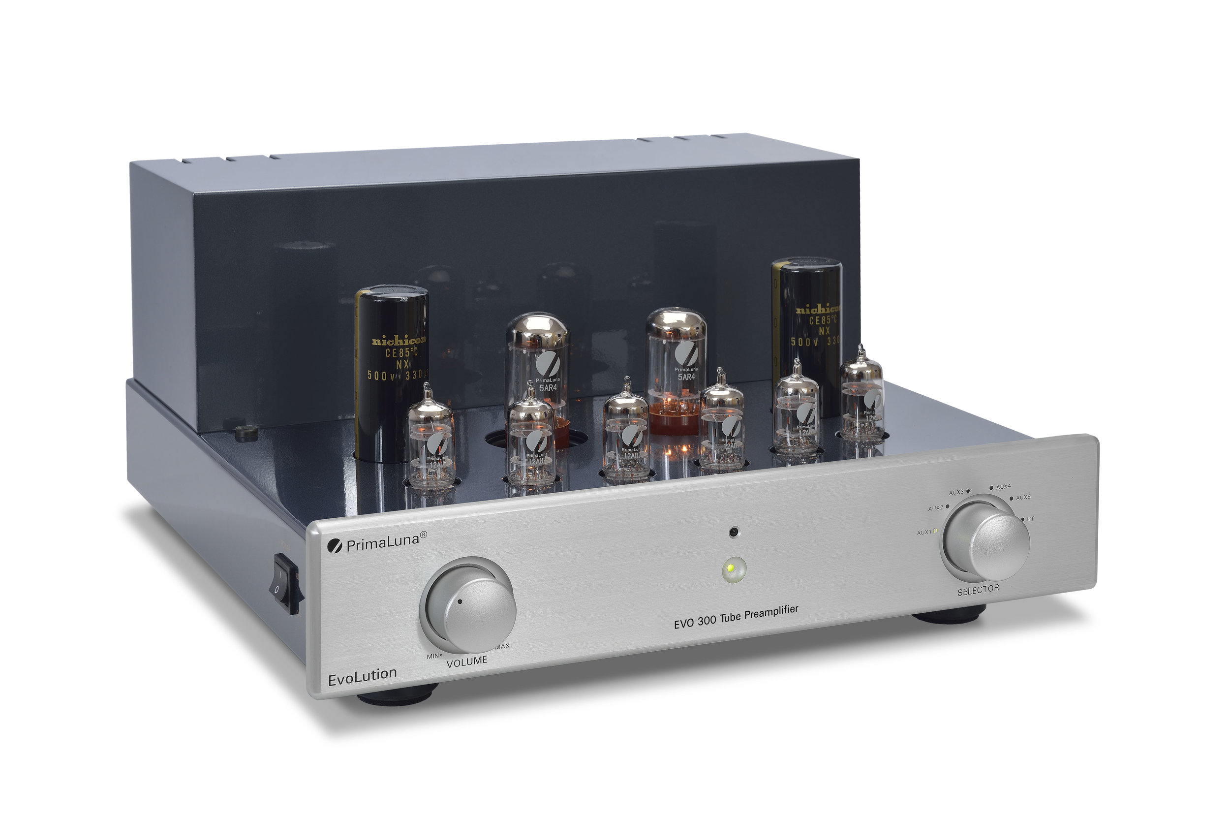 015b - PrimaLuna Evo 300 Tube Preamplifier - silver - slanted - without cage - white background.jpg