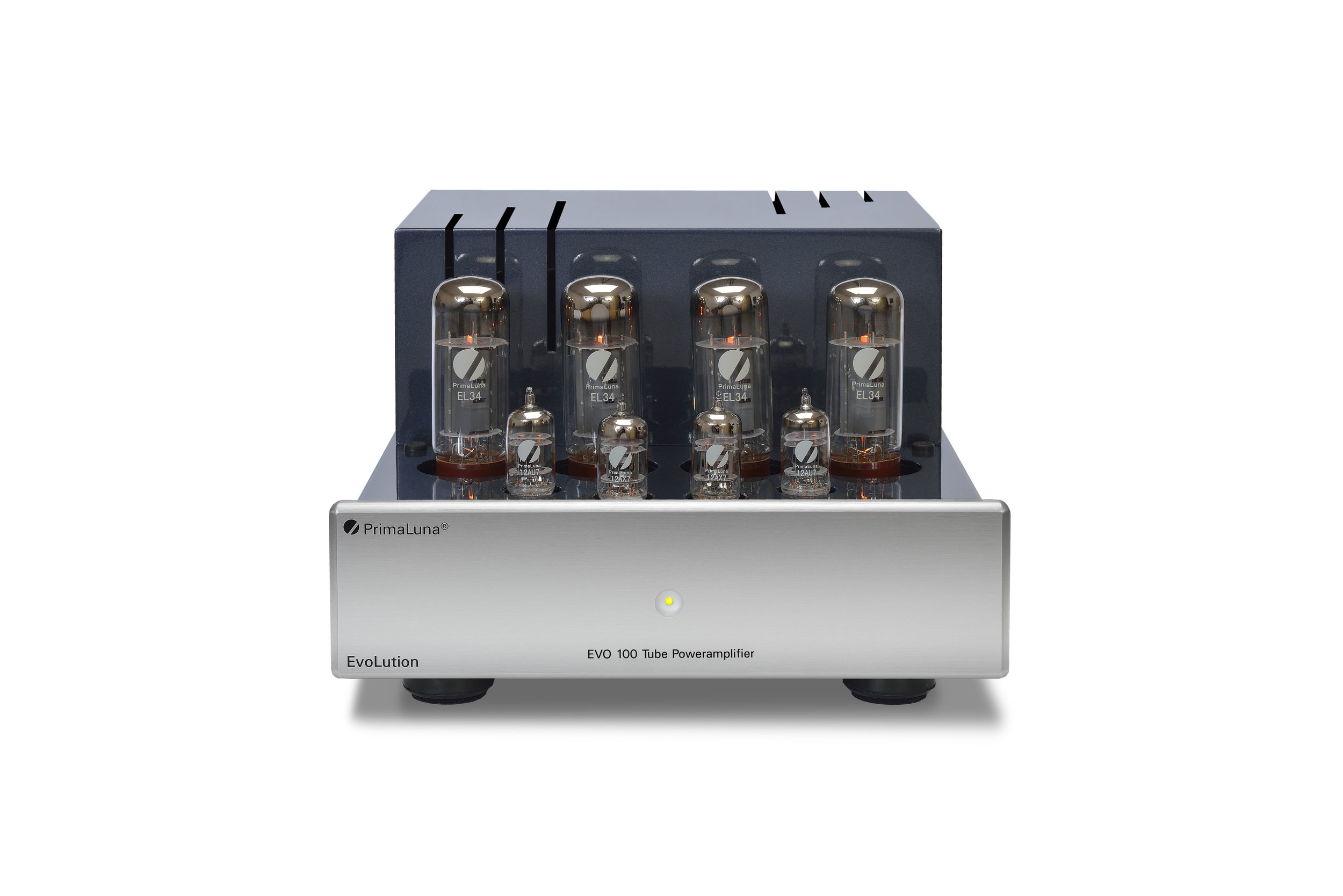 132b - PrimaLuna EVO 100 Tube Poweramplifier - silver - front - without cage - white background.jpg
