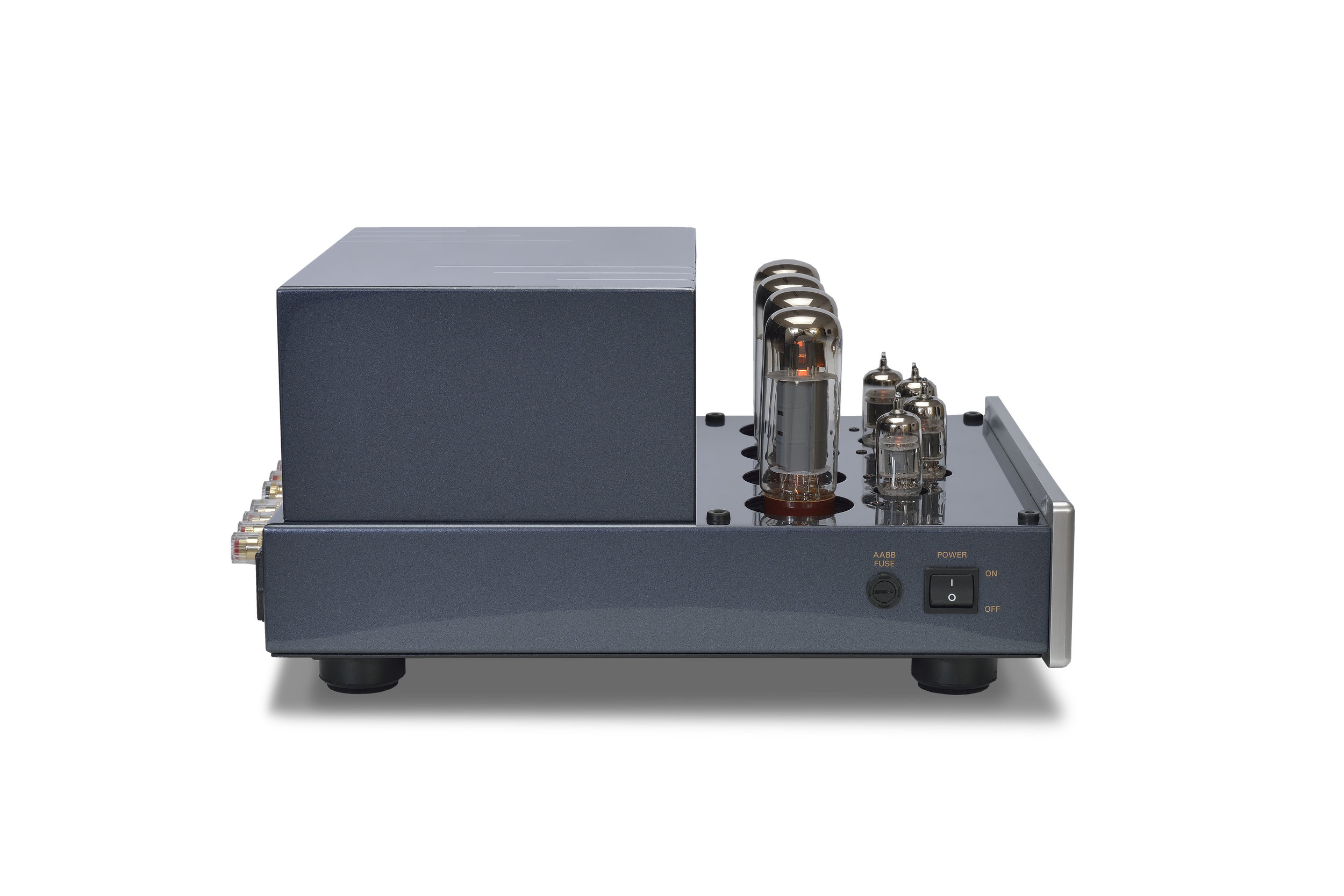 136b - PrimaLuna EVO 100 Tube Poweramplifier - silver - quarter turned - without cage - white background.jpg