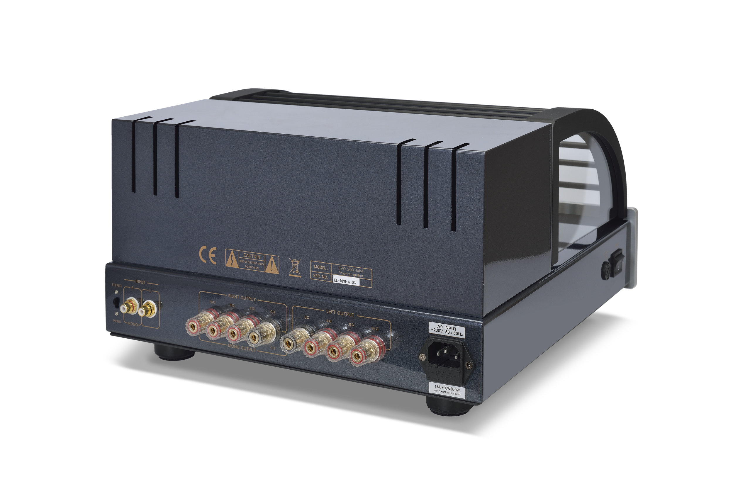 067b - PrimaLuna Evo 200 Tube Poweramplifier - silver - back - slanted - white background.jpg