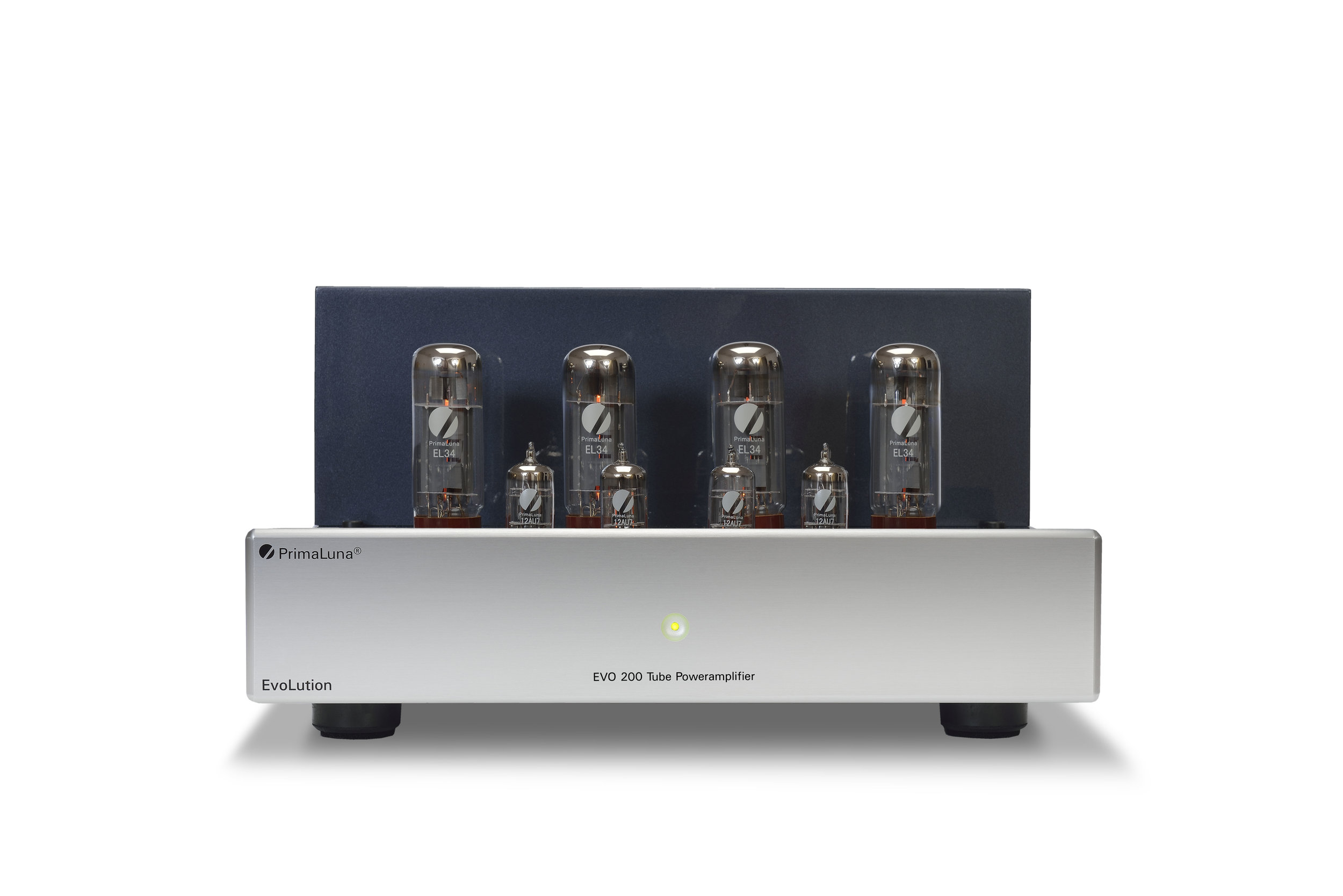 069b - PrimaLuna Evo 200 Tube Poweramplifier - silver - front low - white background.jpg