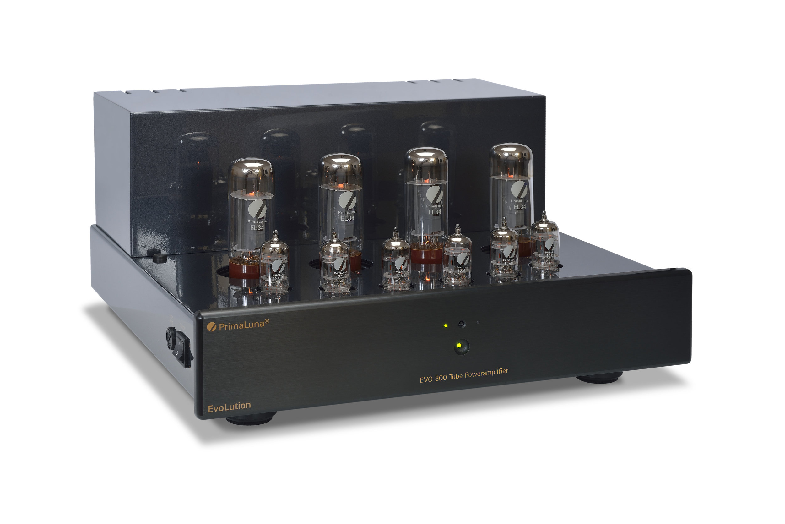 025b - PrimaLuna Evo 300 Tube Poweramplifier - black - slanted - without cage - white background.jpg